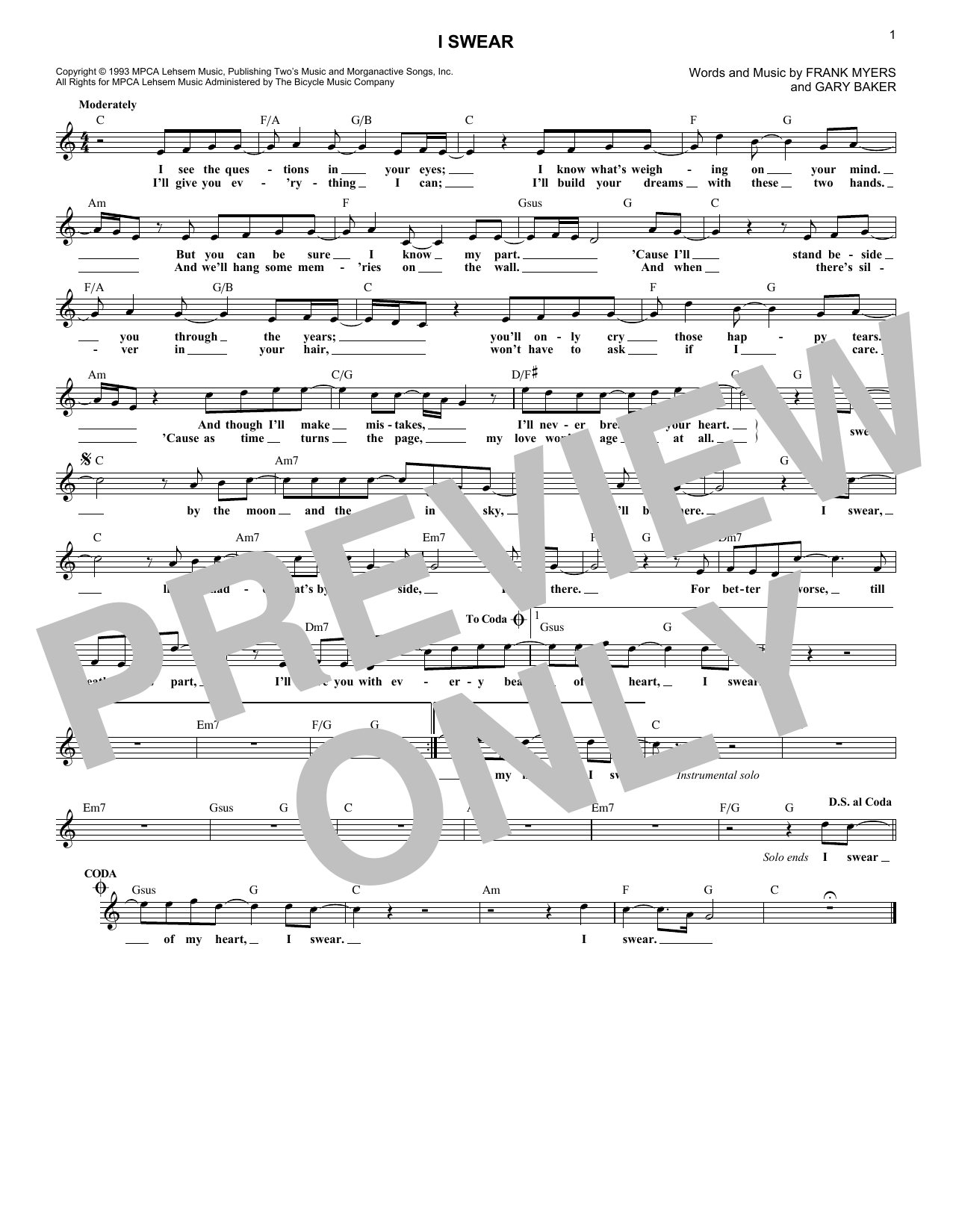 I Swear Sheet Music