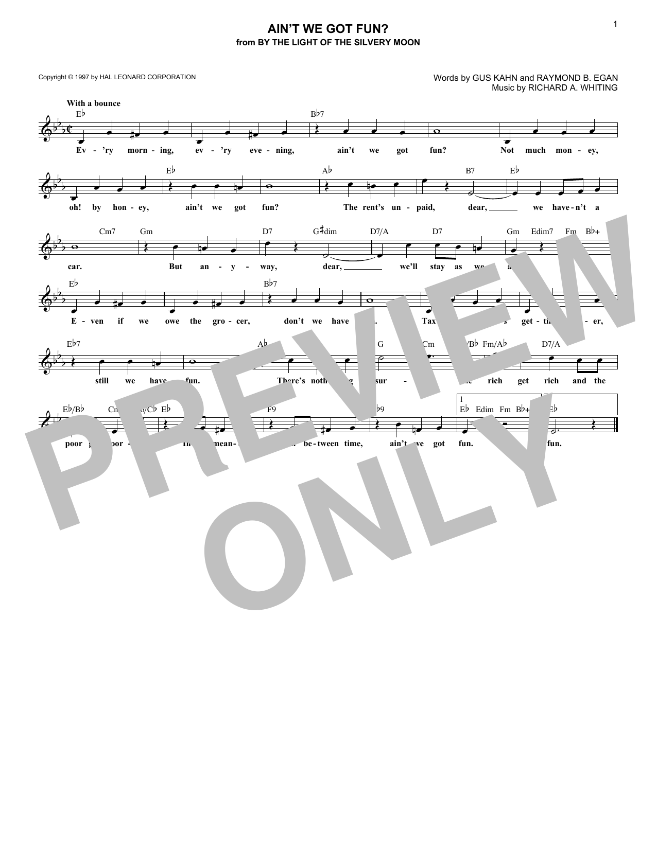 Ain't We Got Fun? (Lead Sheet / Fake Book)