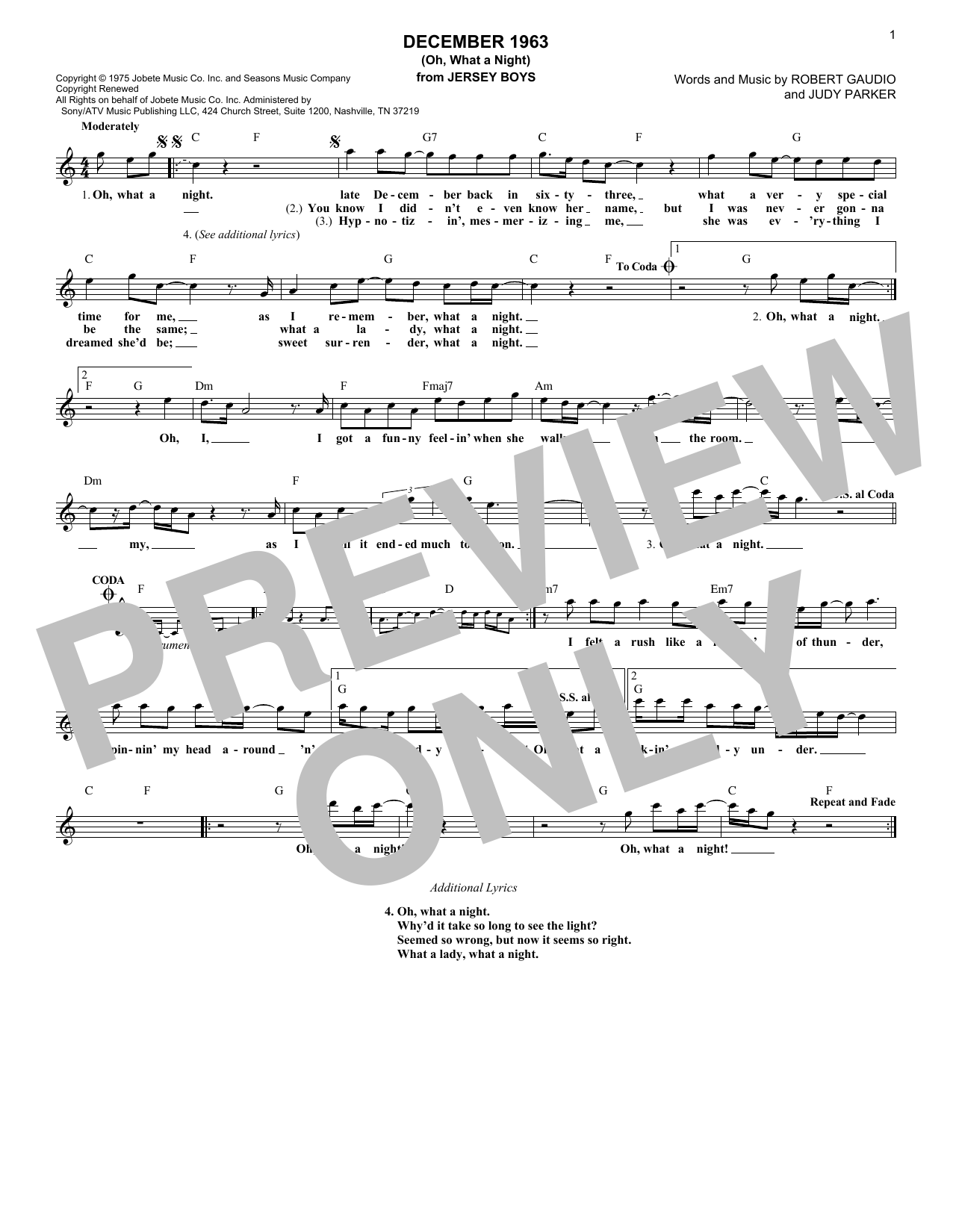 December 1963 (Oh, What A Night) (Lead Sheet / Fake Book)