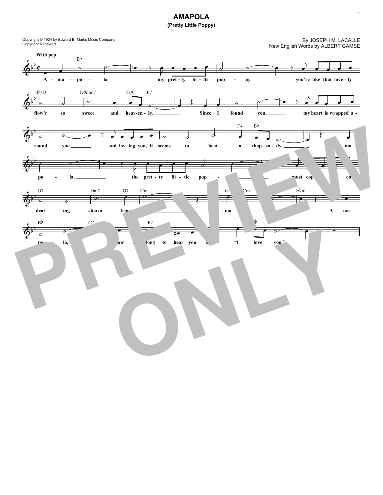 Amapola (Pretty Little Poppy) (Lead Sheet / Fake Book)