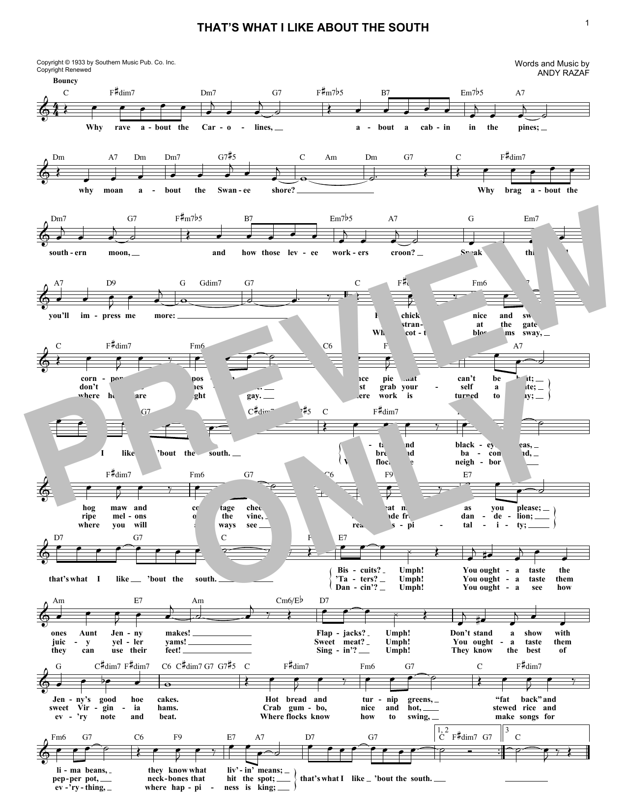 That's What I Like About The South (Lead Sheet / Fake Book)
