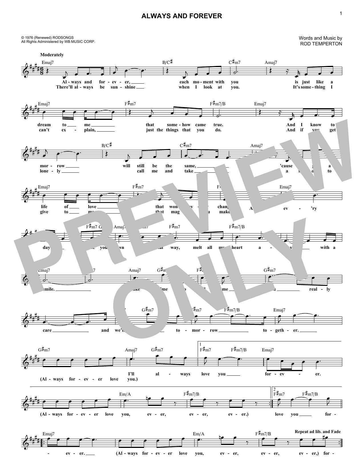 Always And Forever (Lead Sheet / Fake Book)