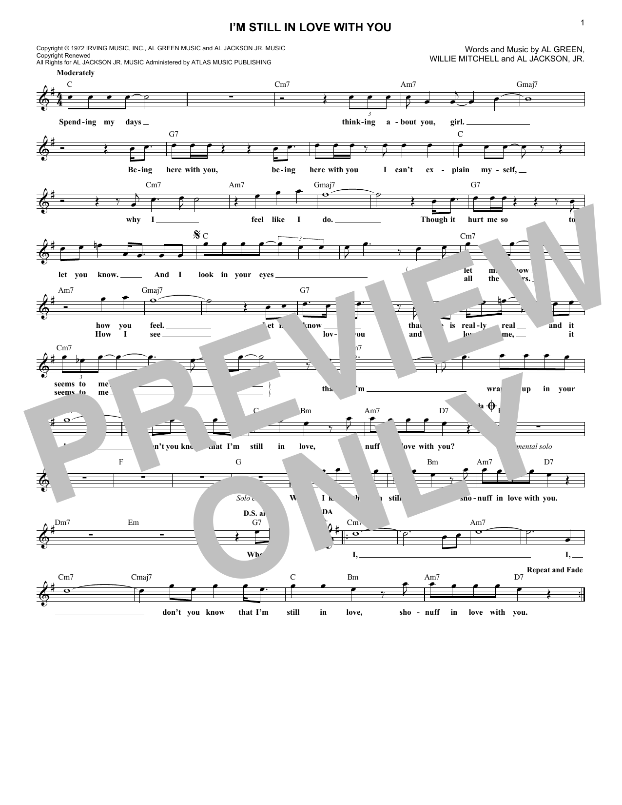 I'm Still In Love With You (Lead Sheet / Fake Book)