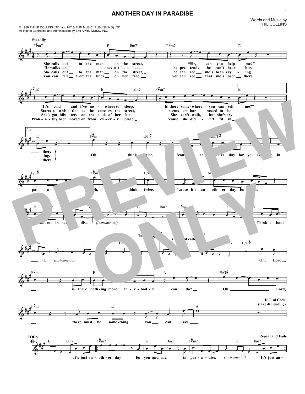 Another Day In Paradise Sheet Music