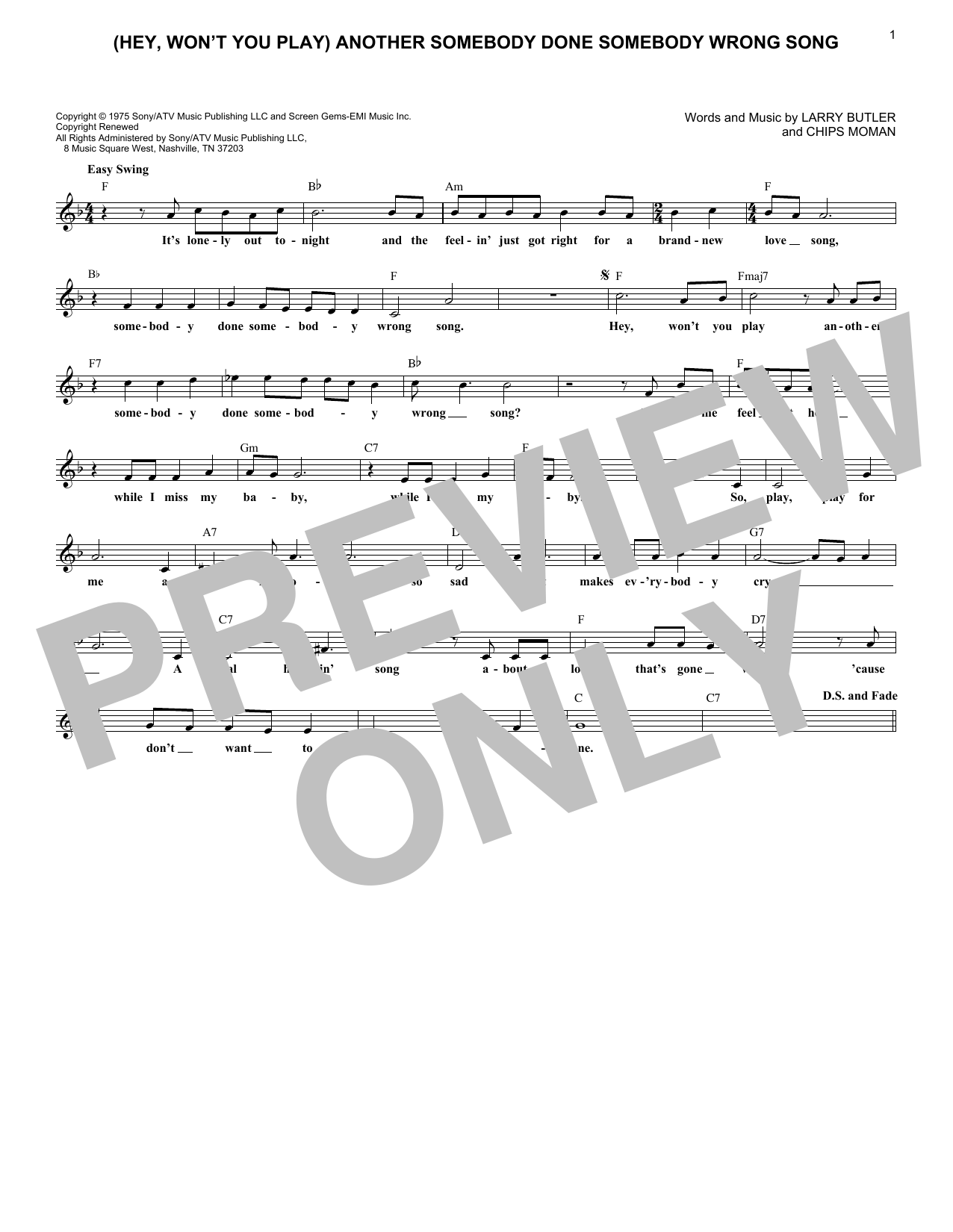 (Hey, Won't You Play) Another Somebody Done Somebody Wrong Song (Lead Sheet / Fake Book)
