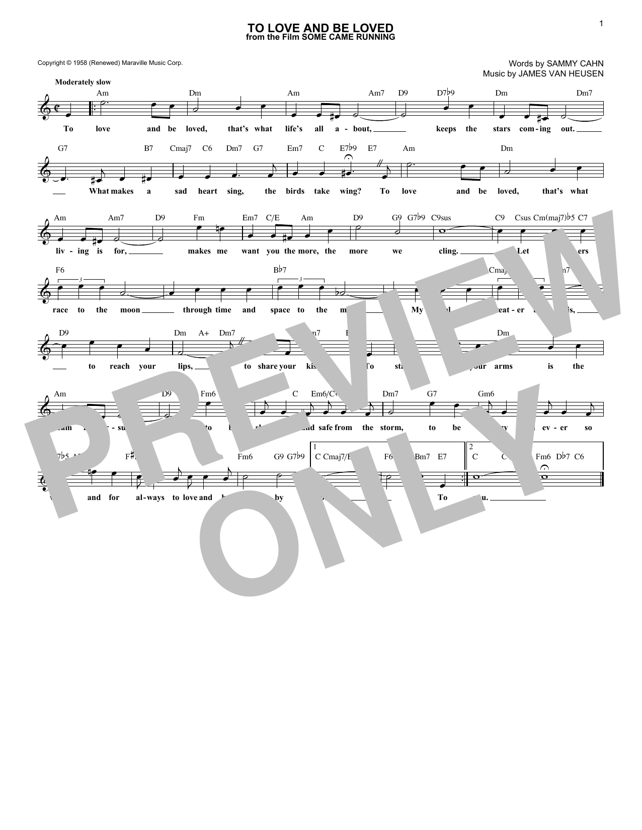 To Love And Be Loved (Lead Sheet / Fake Book)