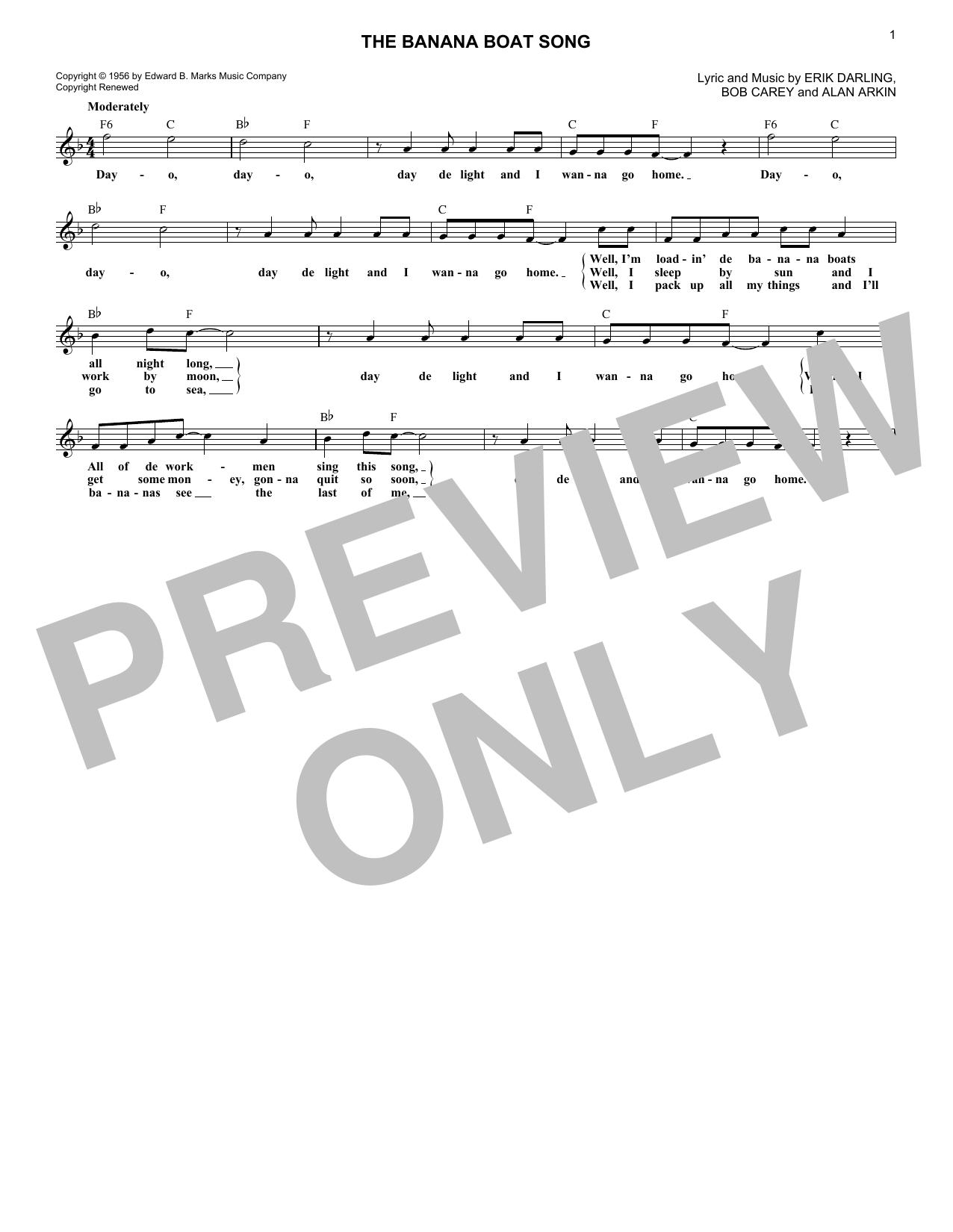 The Banana Boat Song (Lead Sheet / Fake Book)