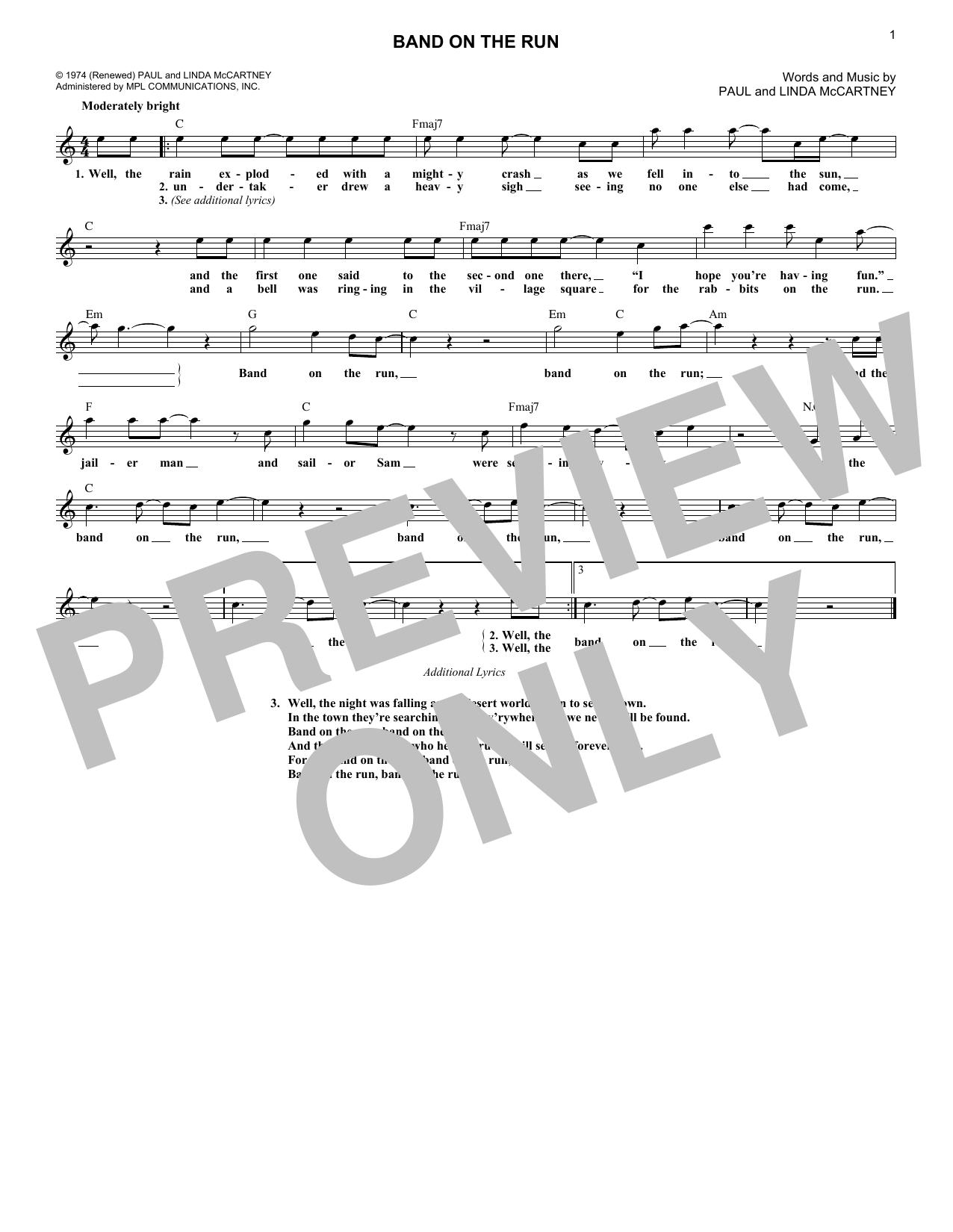 Band On The Run (Lead Sheet / Fake Book)