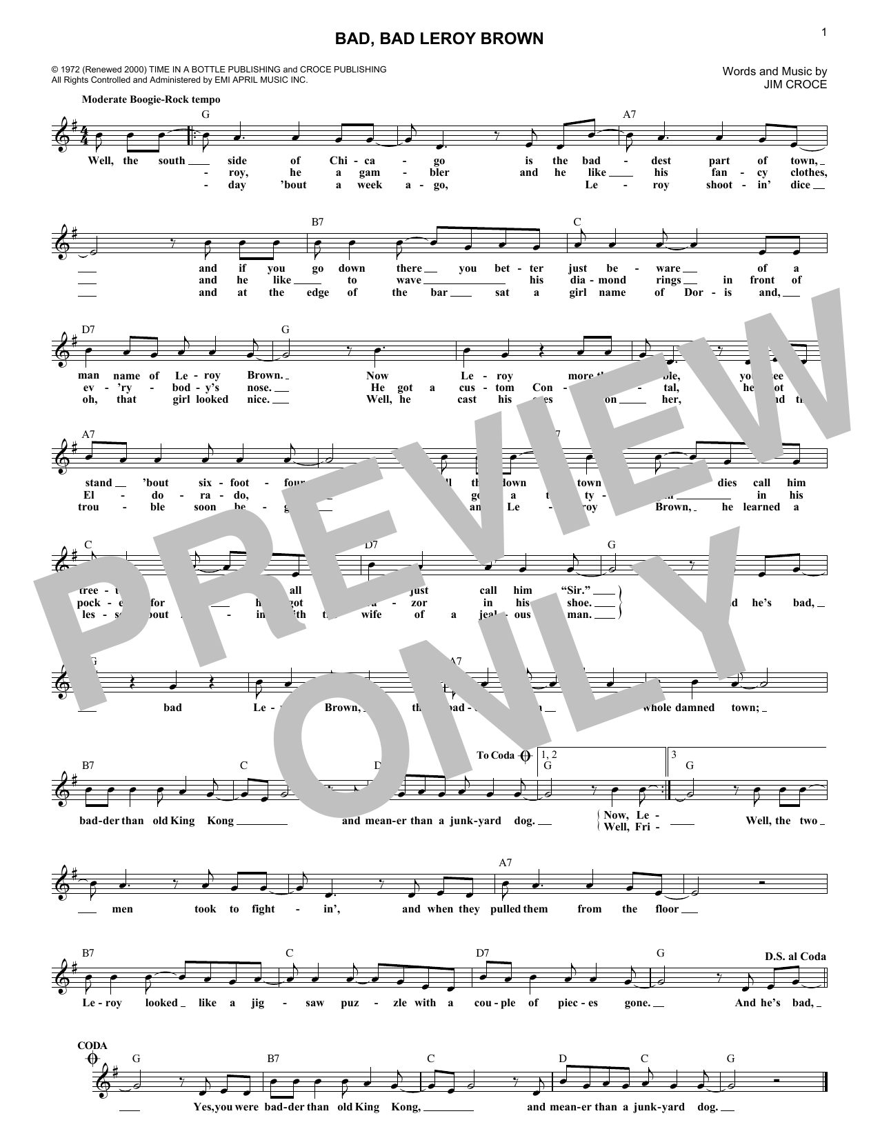 Bad, Bad Leroy Brown (Lead Sheet / Fake Book)