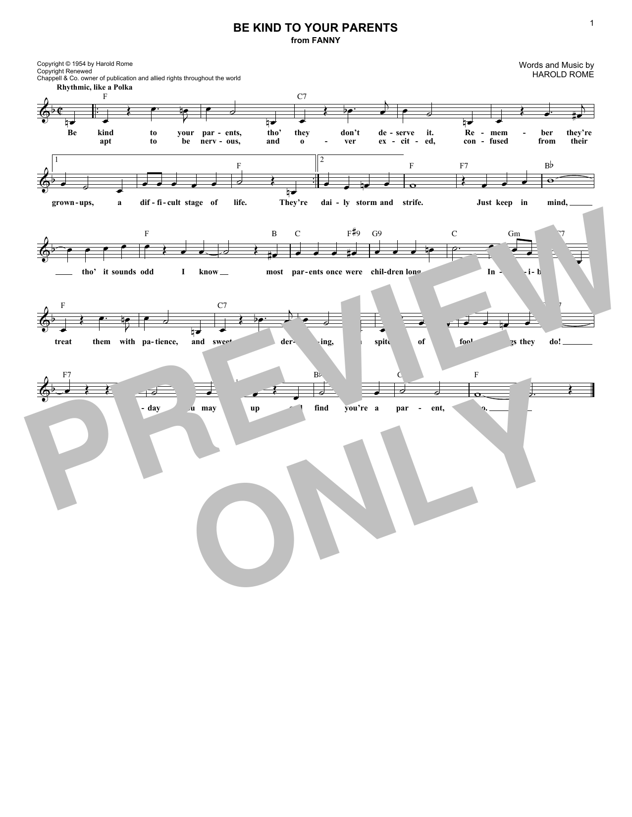 Be Kind To Your Parents (Lead Sheet / Fake Book)