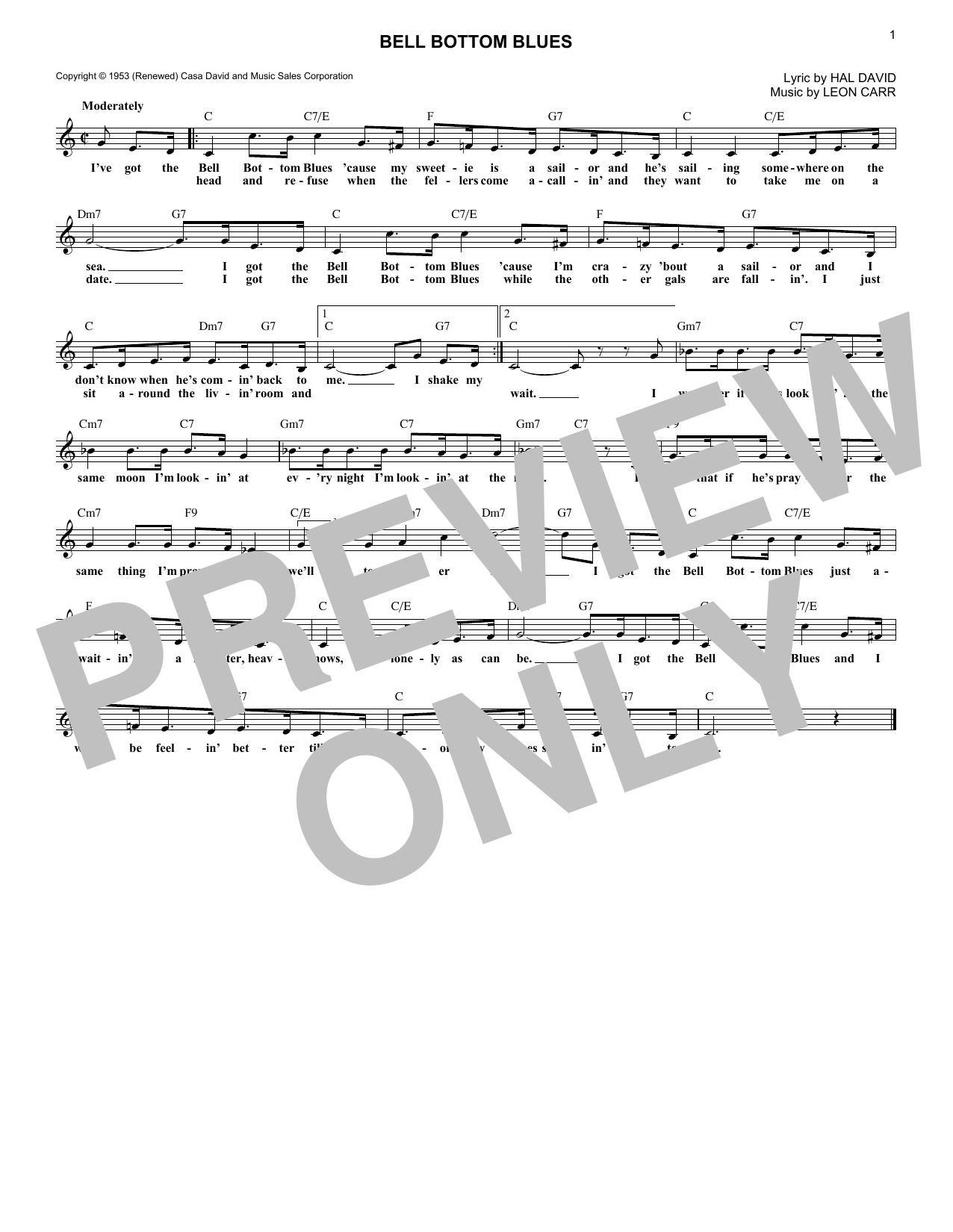 Bell Bottom Blues (Lead Sheet / Fake Book)