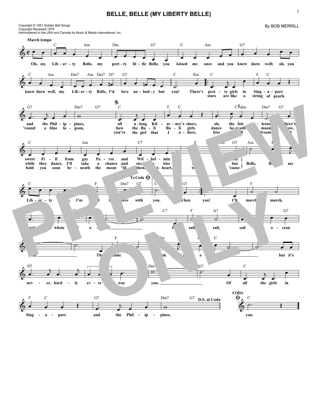Belle, Belle (My Liberty Belle) (Lead Sheet / Fake Book)