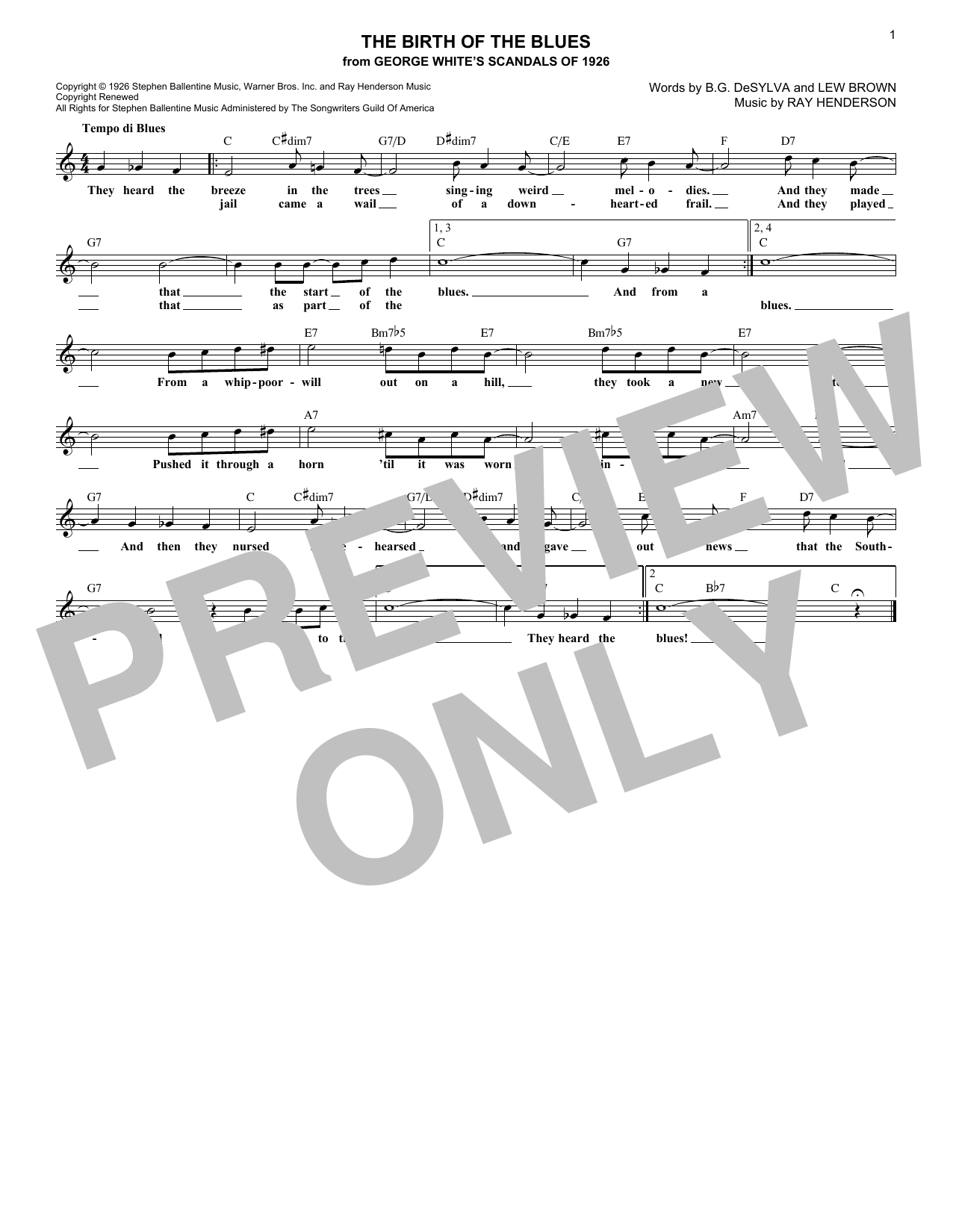 The Birth Of The Blues (Lead Sheet / Fake Book)