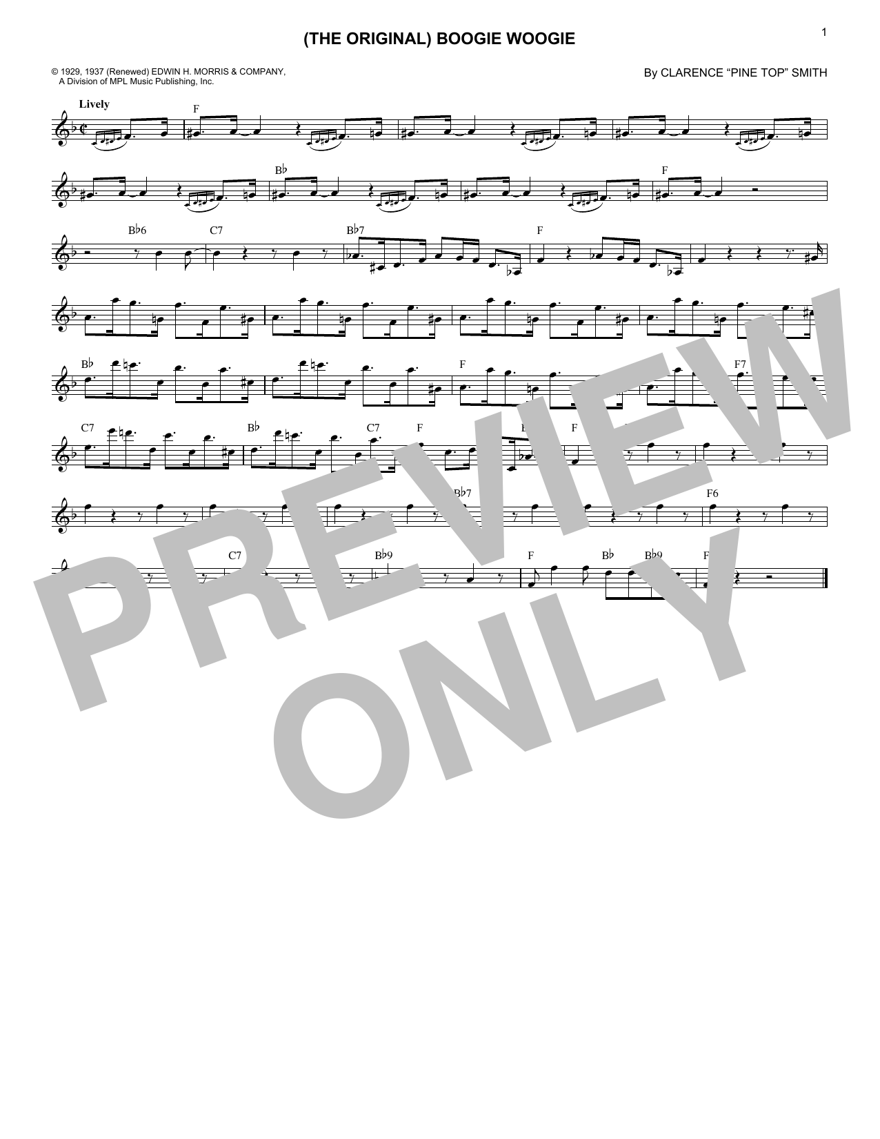 Pine Top's Boogie (Lead Sheet / Fake Book)