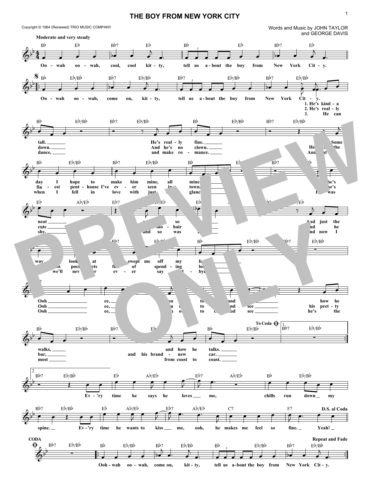 The Boy From New York City (Lead Sheet / Fake Book)