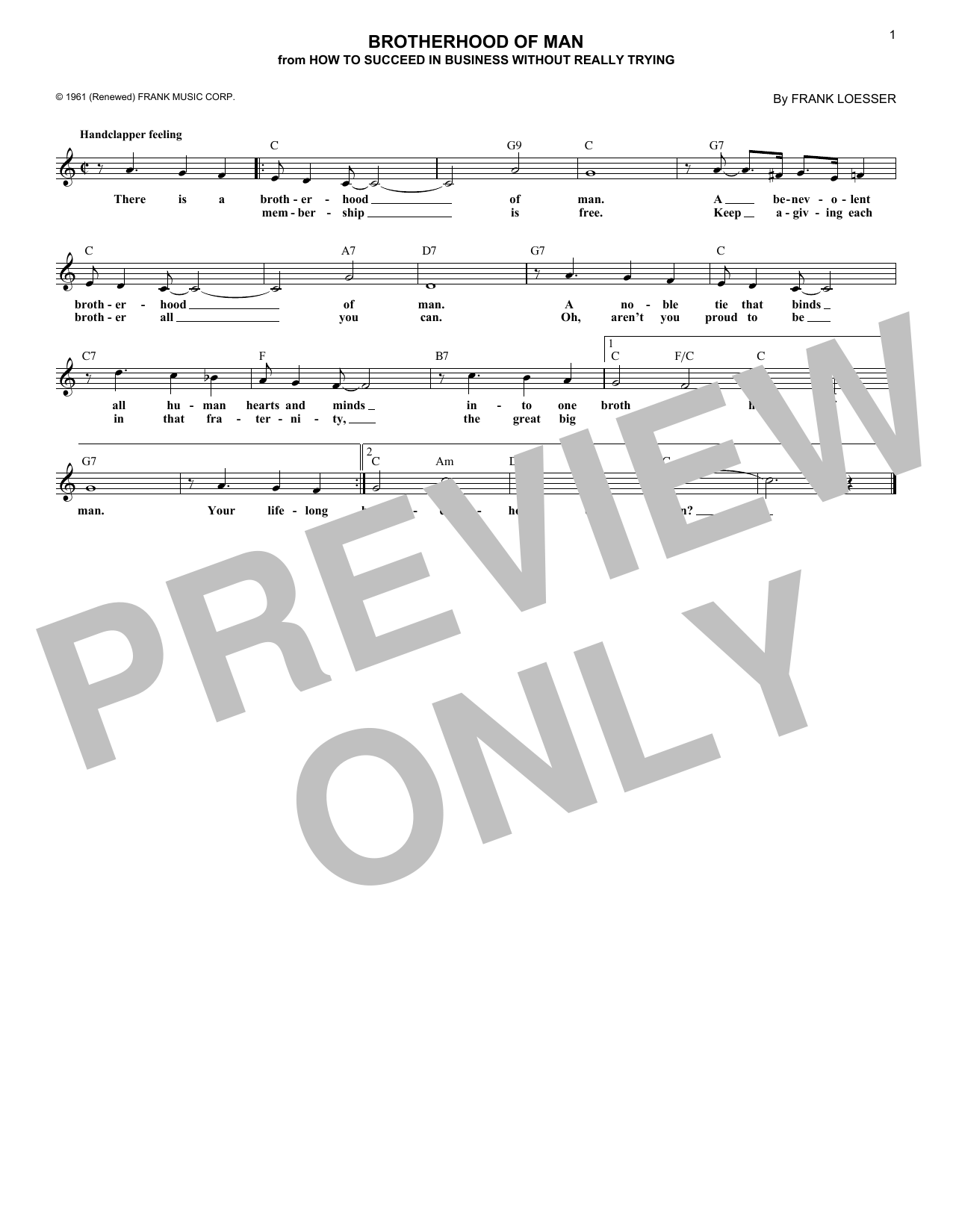 Brotherhood Of Man (Melody Line, Lyrics & Chords)