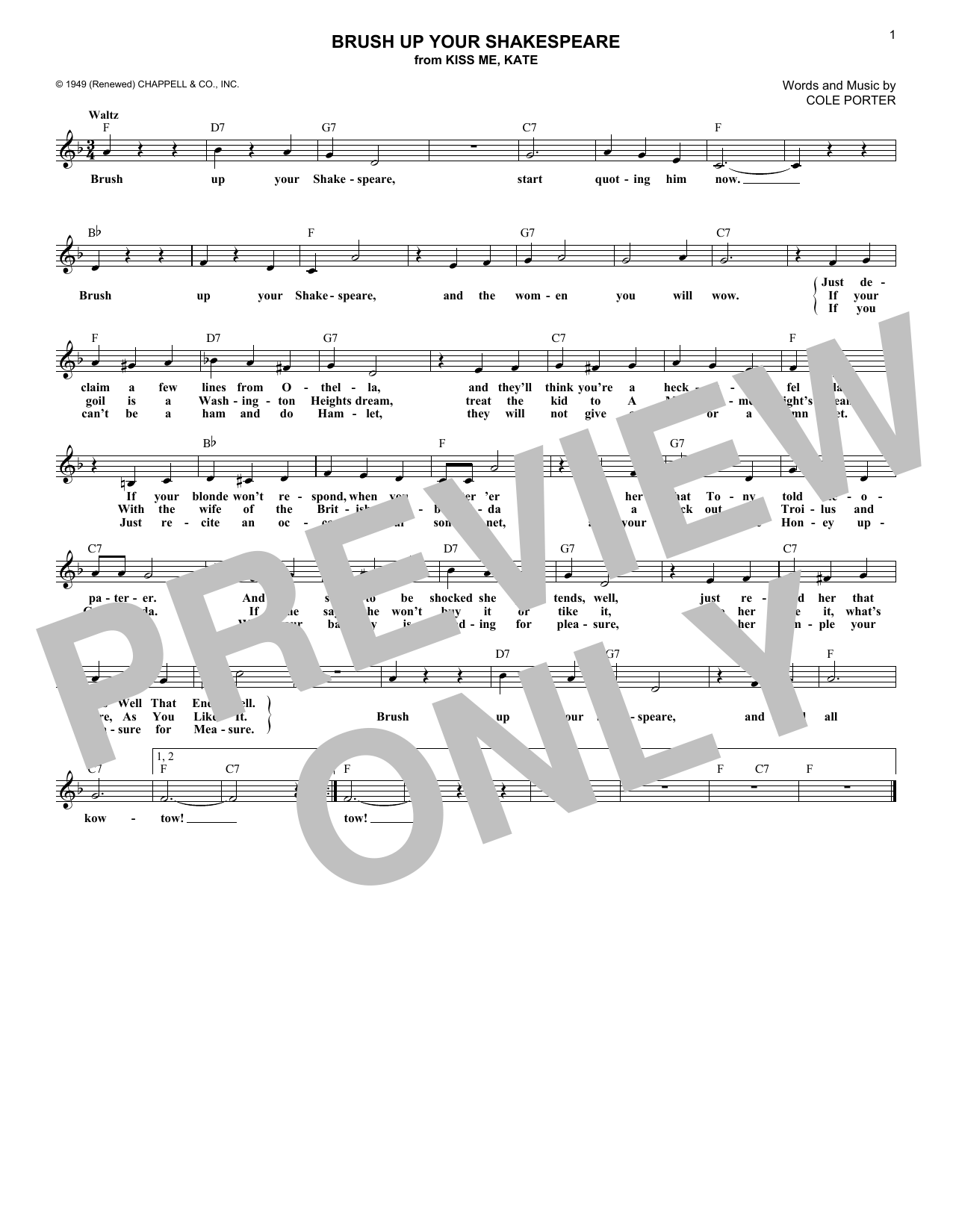 Brush Up Your Shakespeare (from Kiss Me, Kate) (Lead Sheet / Fake Book)