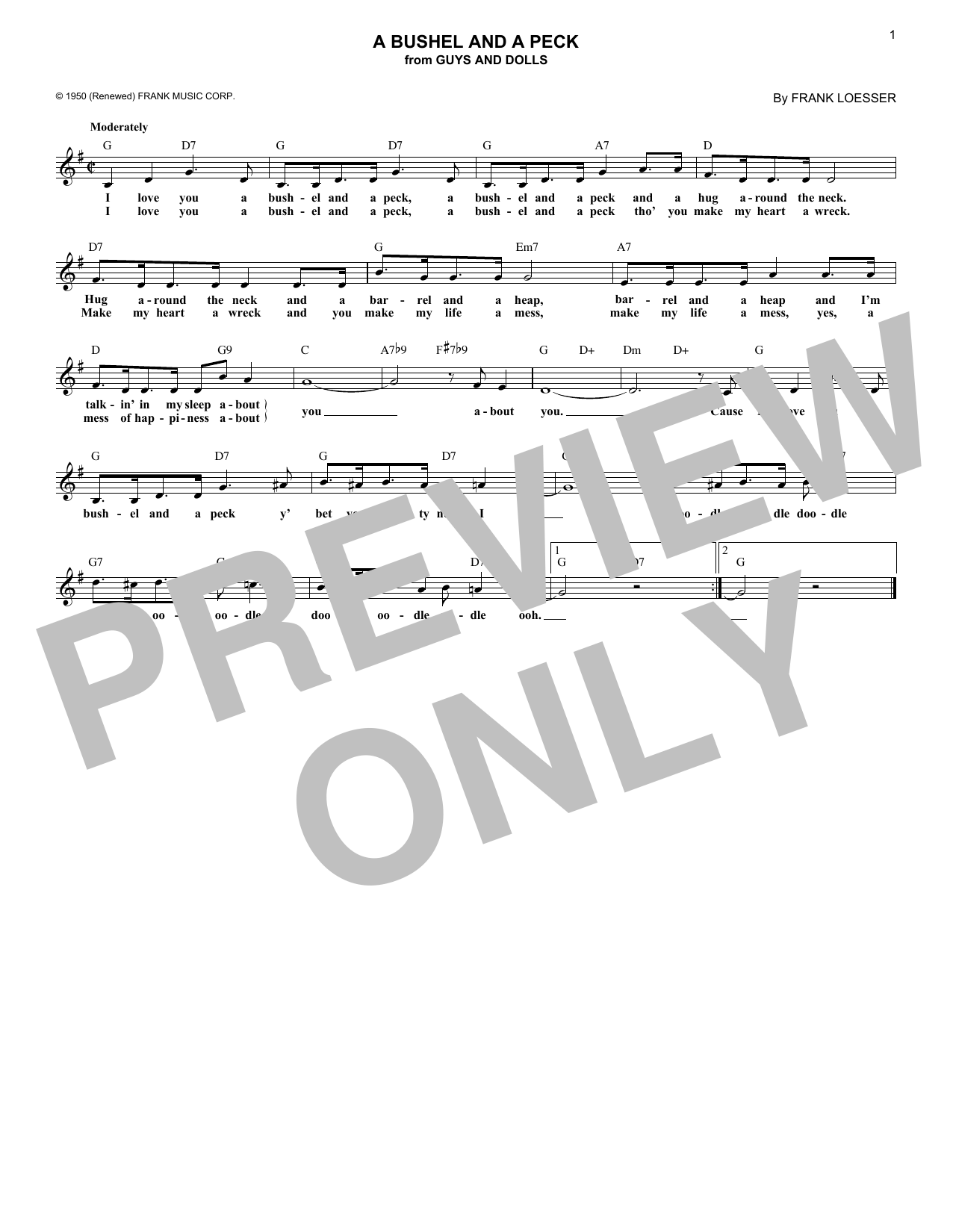 A Bushel And A Peck (Lead Sheet / Fake Book)