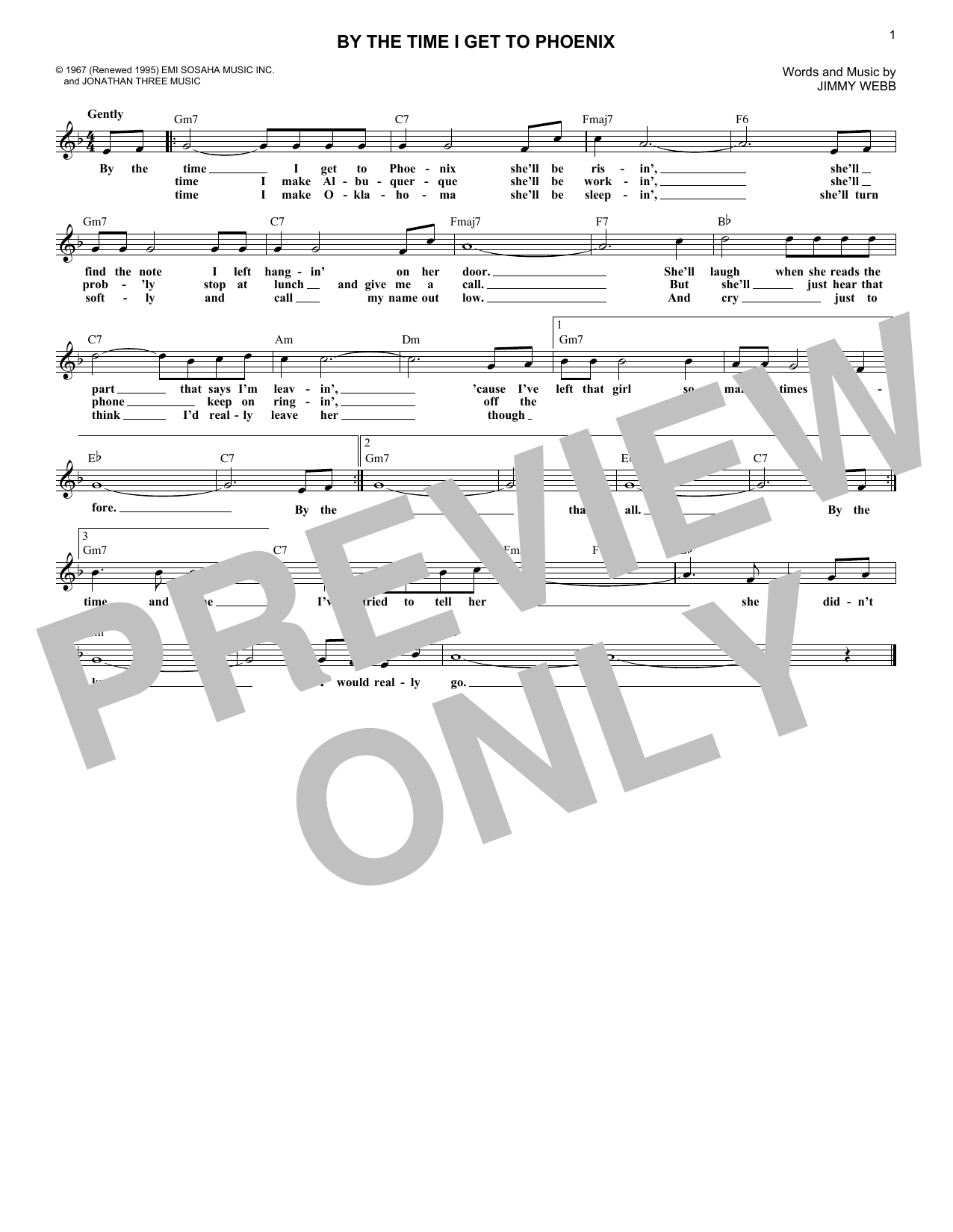 By The Time I Get To Phoenix (Lead Sheet / Fake Book)