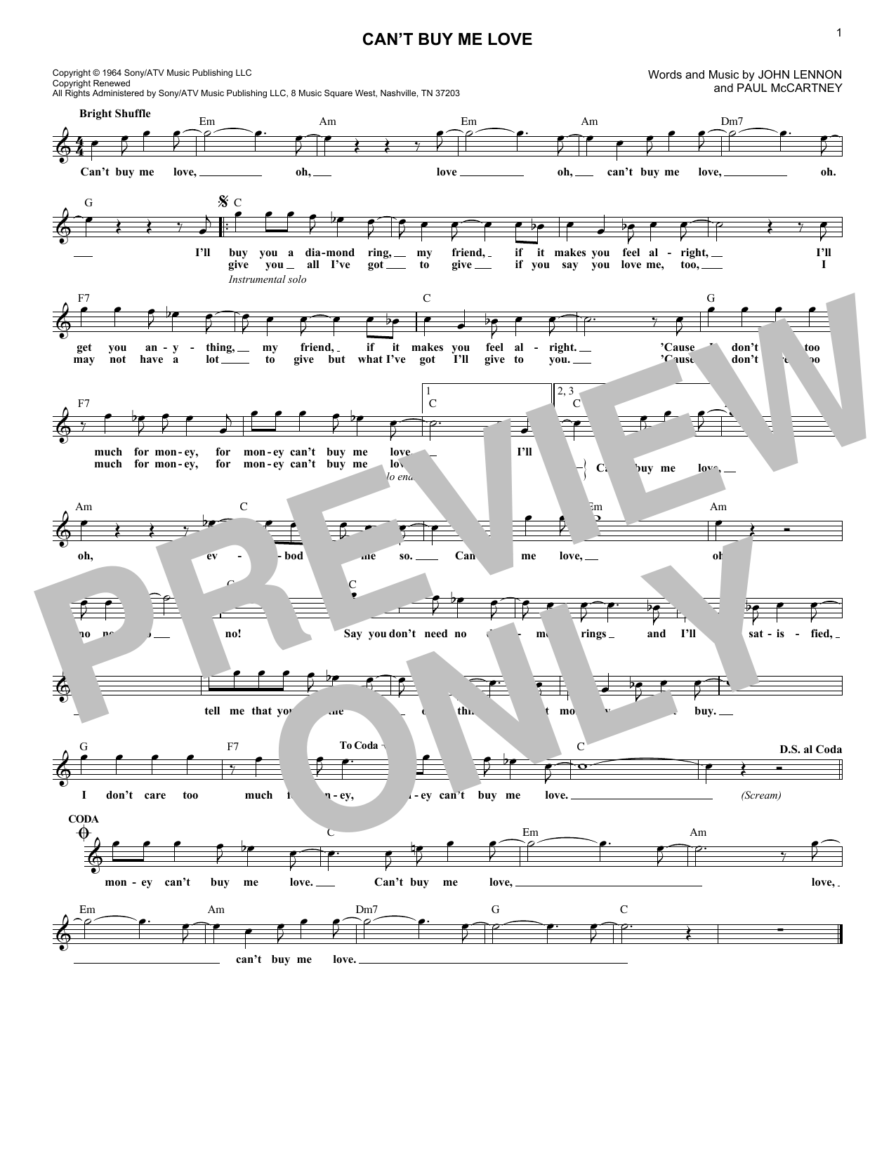 Can't Buy Me Love (Lead Sheet / Fake Book)