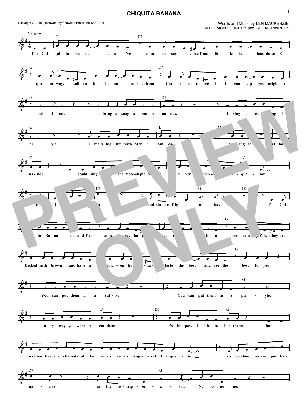 Chiquita Banana (Lead Sheet / Fake Book)