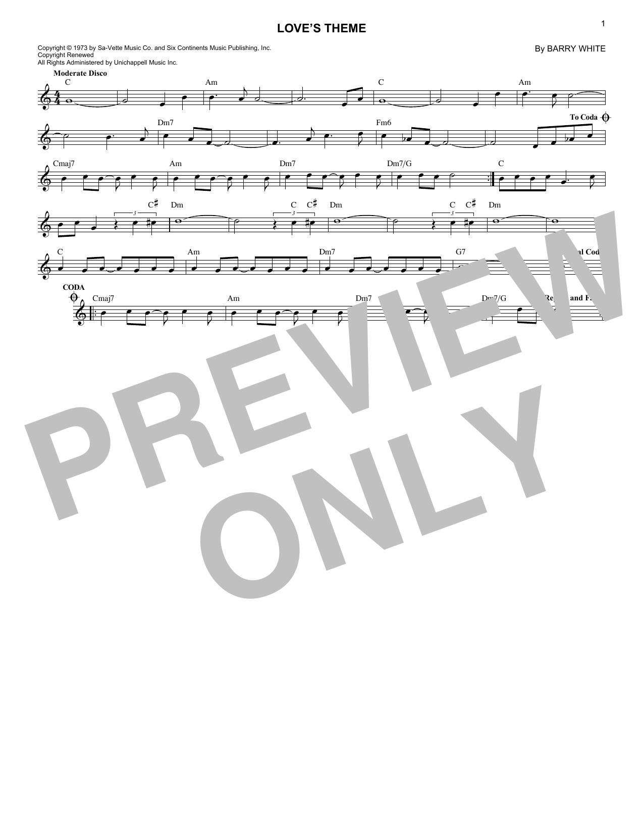 Love's Theme (Lead Sheet / Fake Book)