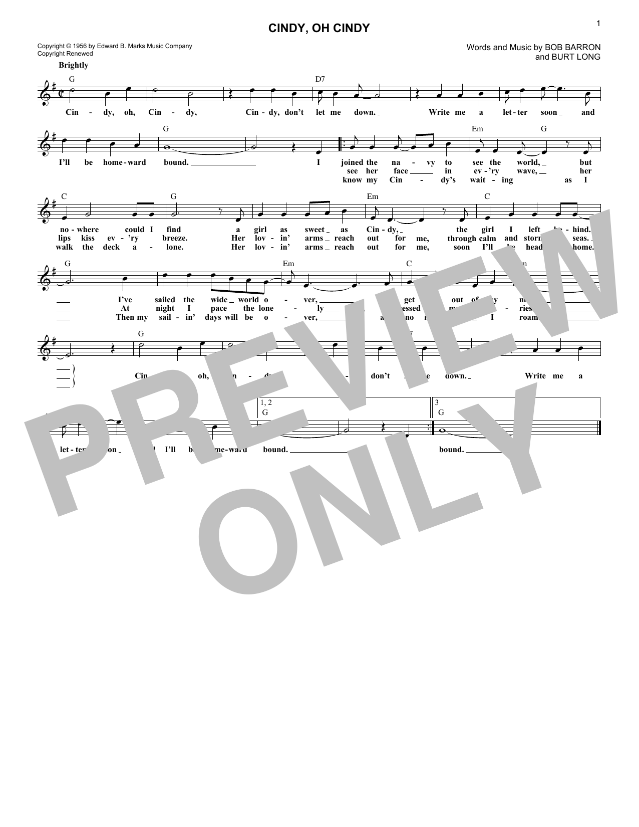 Cindy, Oh Cindy (Lead Sheet / Fake Book)