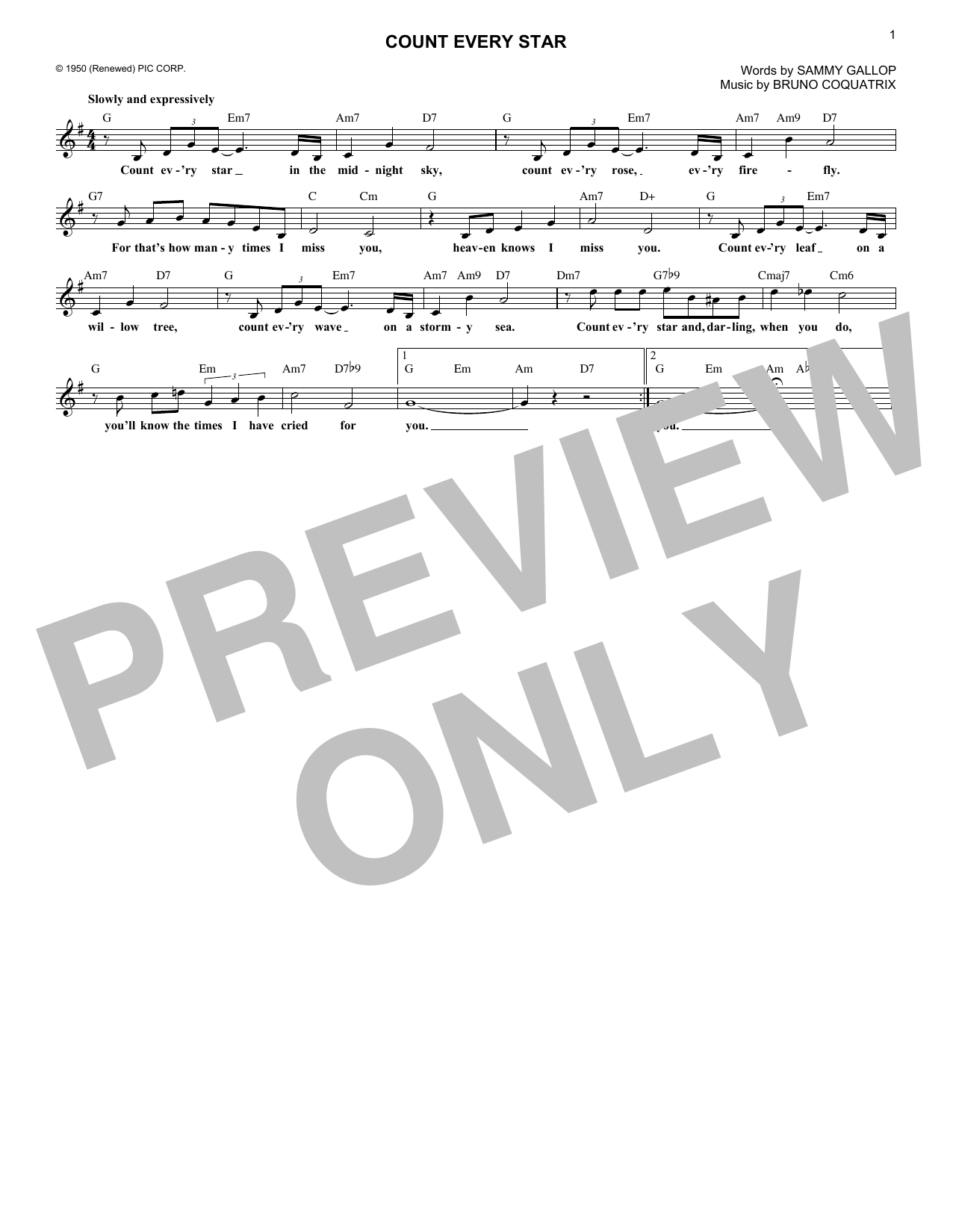 Count Every Star (Lead Sheet / Fake Book)
