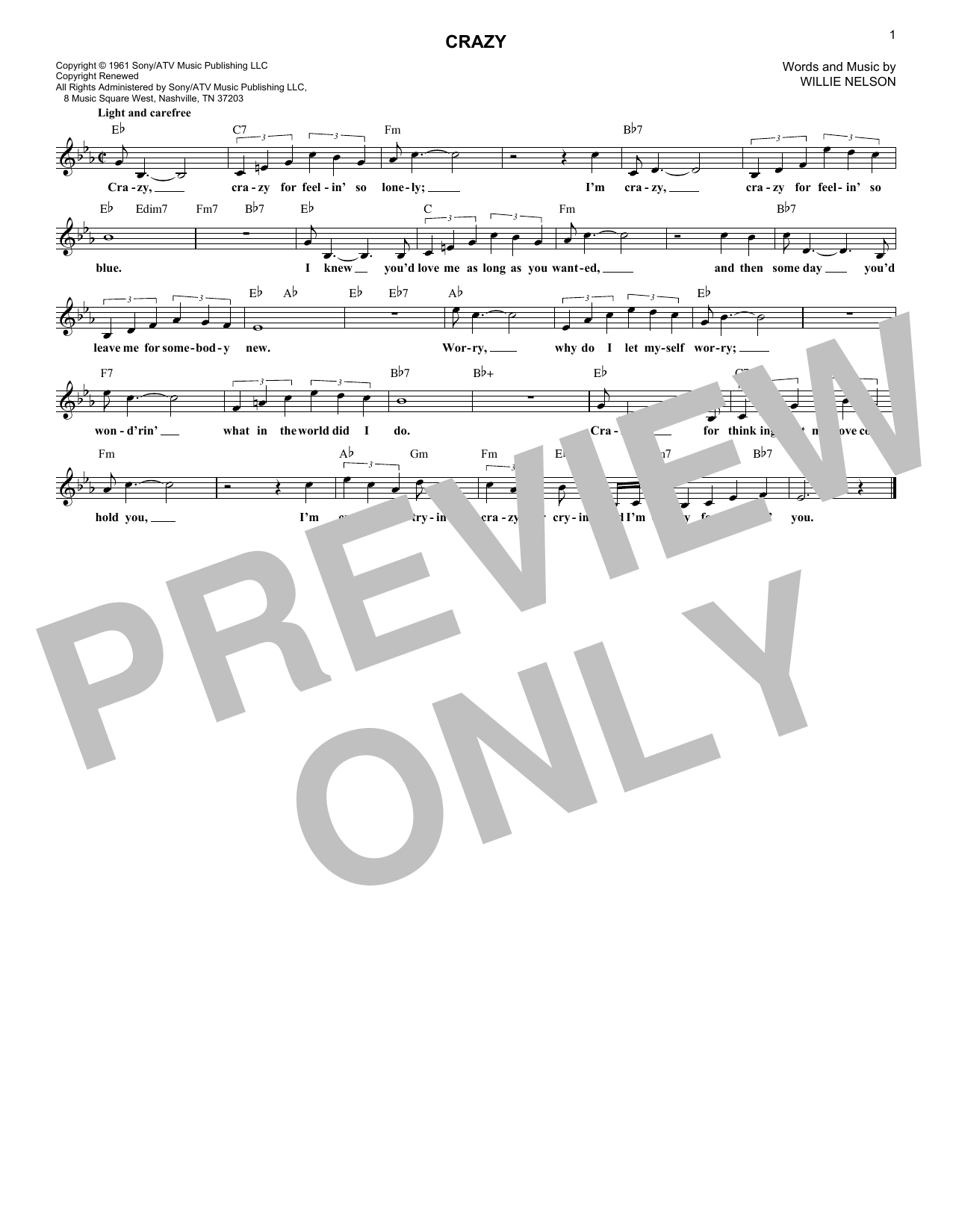 Crazy (Lead Sheet / Fake Book)