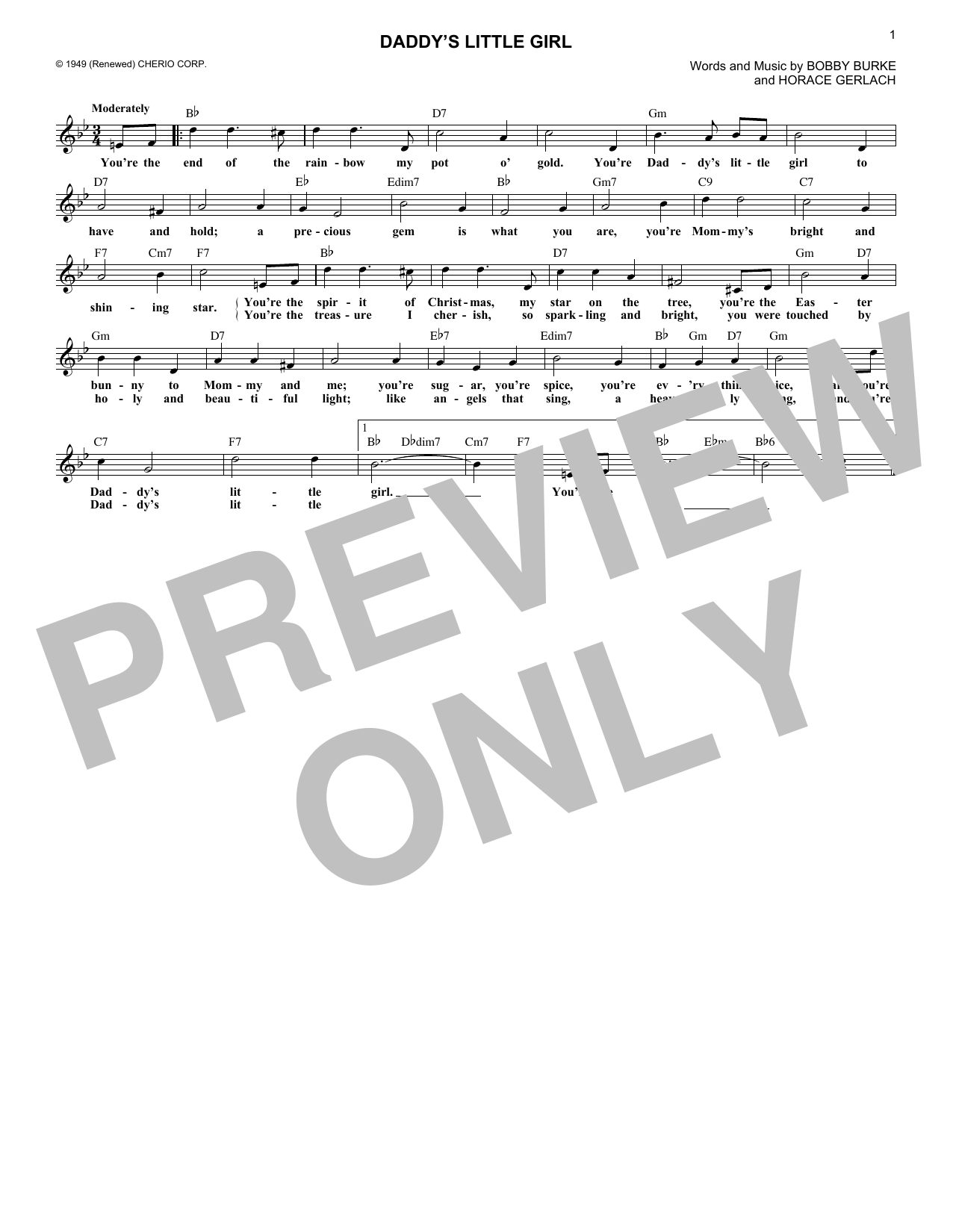 Daddy's Little Girl (Lead Sheet / Fake Book)