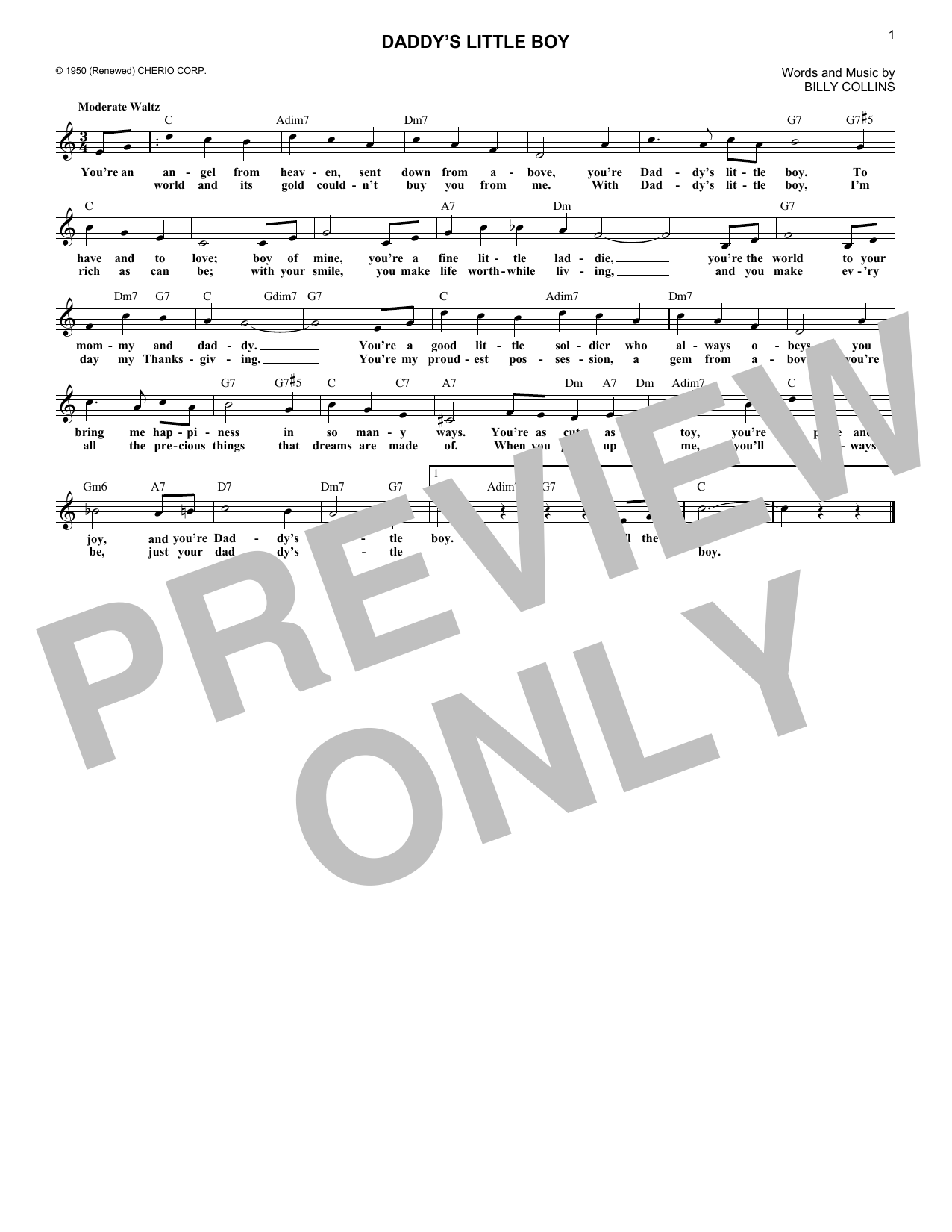 Daddy's Little Boy (Lead Sheet / Fake Book)