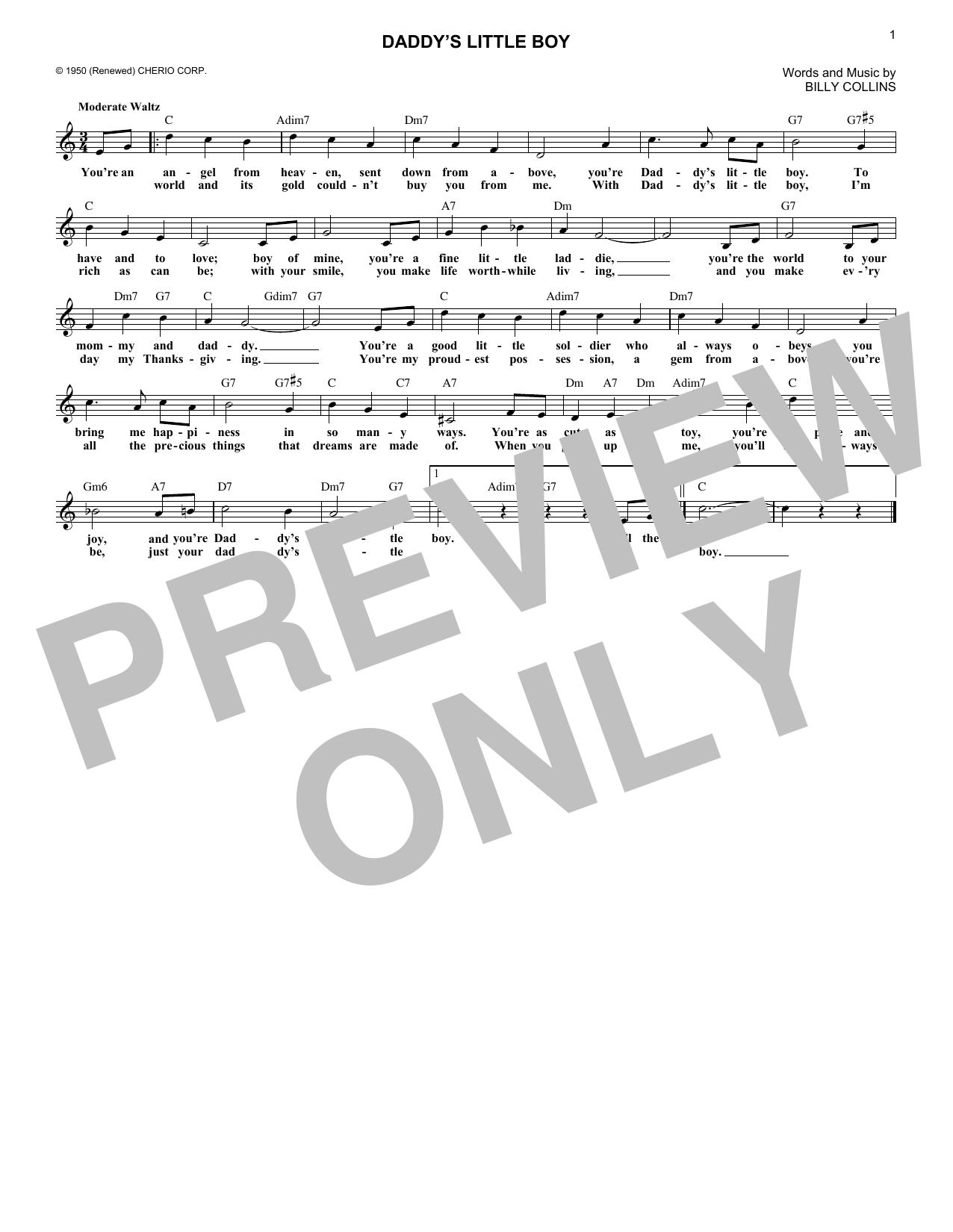 Daddy's Little Boy (Melody Line, Lyrics & Chords)