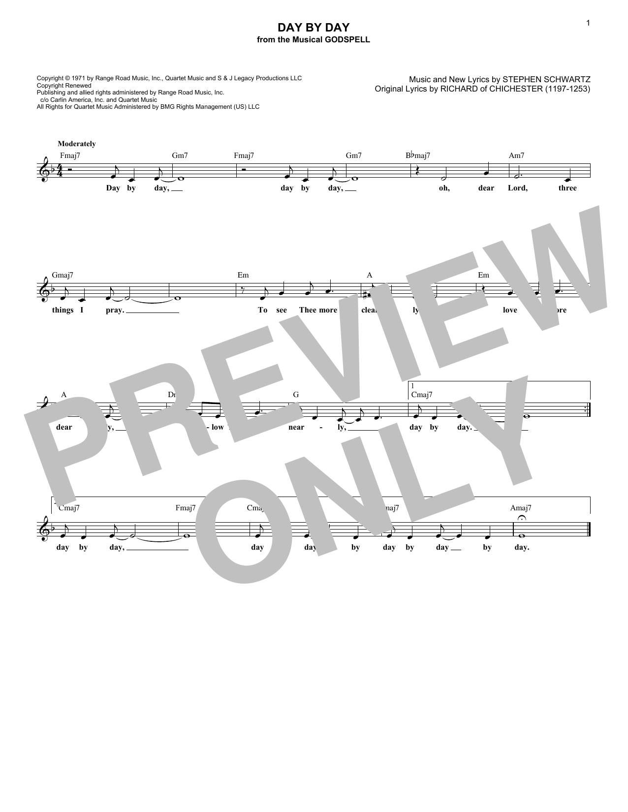 Day By Day (Lead Sheet / Fake Book)