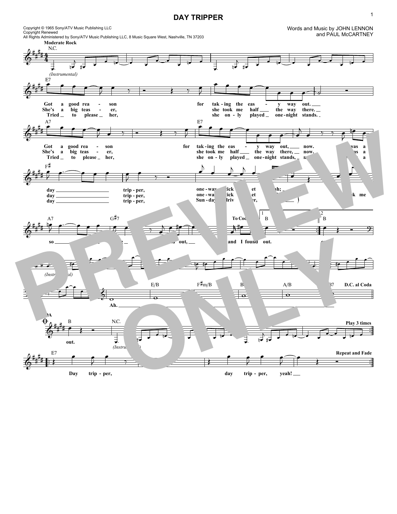 Day Tripper (Lead Sheet / Fake Book)