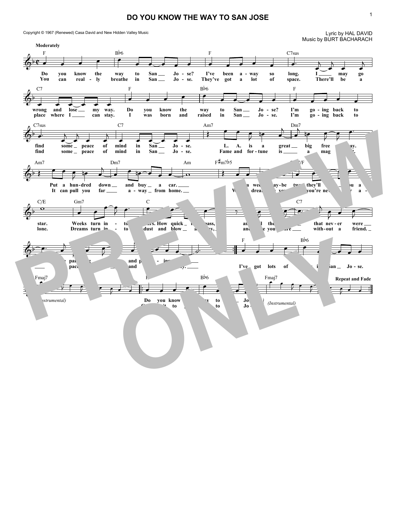 Do You Know The Way To San Jose (Lead Sheet / Fake Book)