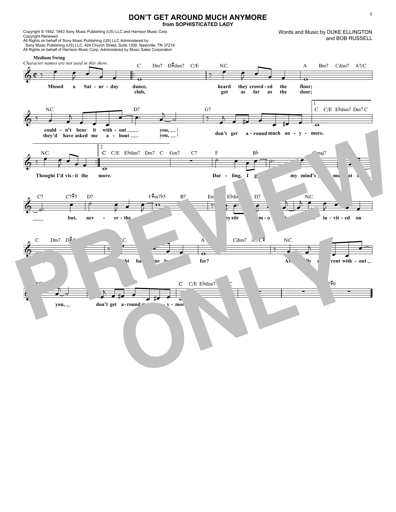 Don't Get Around Much Anymore (Lead Sheet / Fake Book)