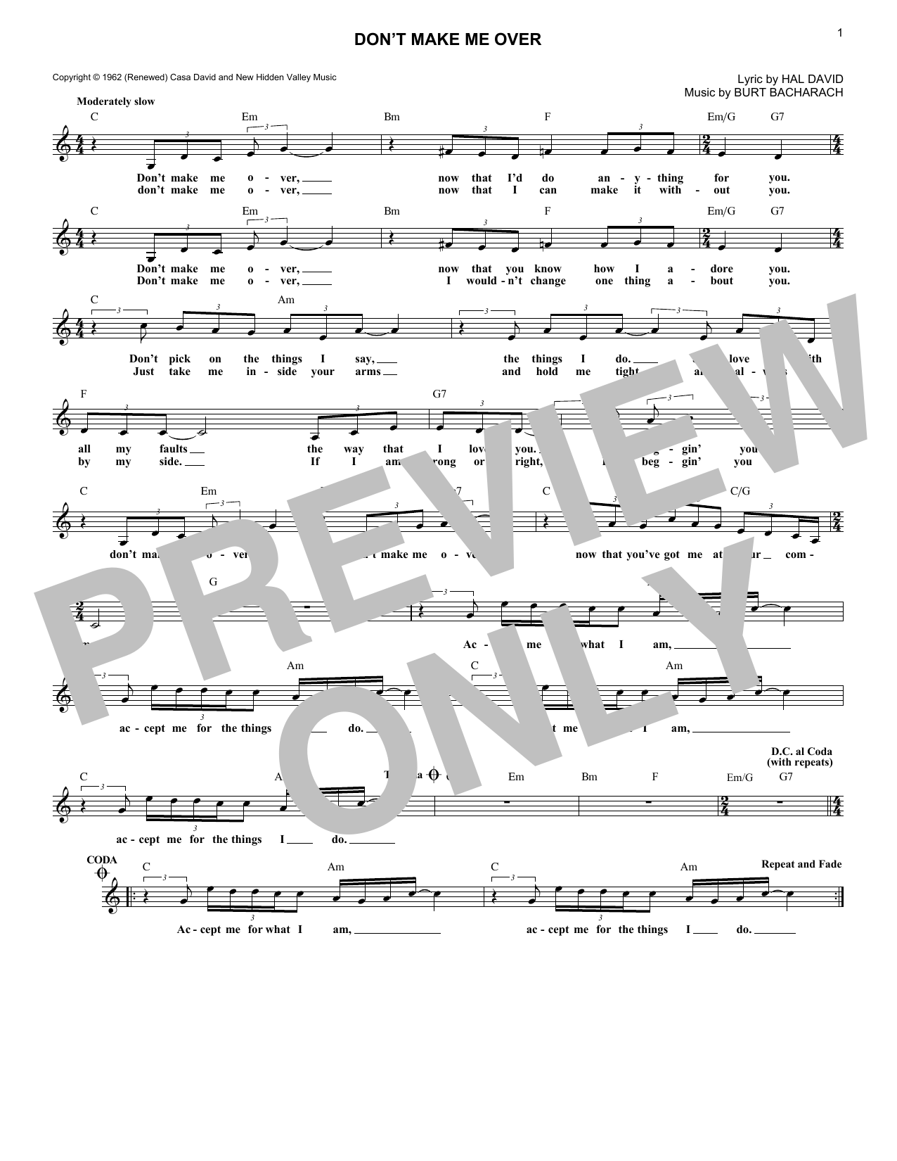Don't Make Me Over (Lead Sheet / Fake Book)