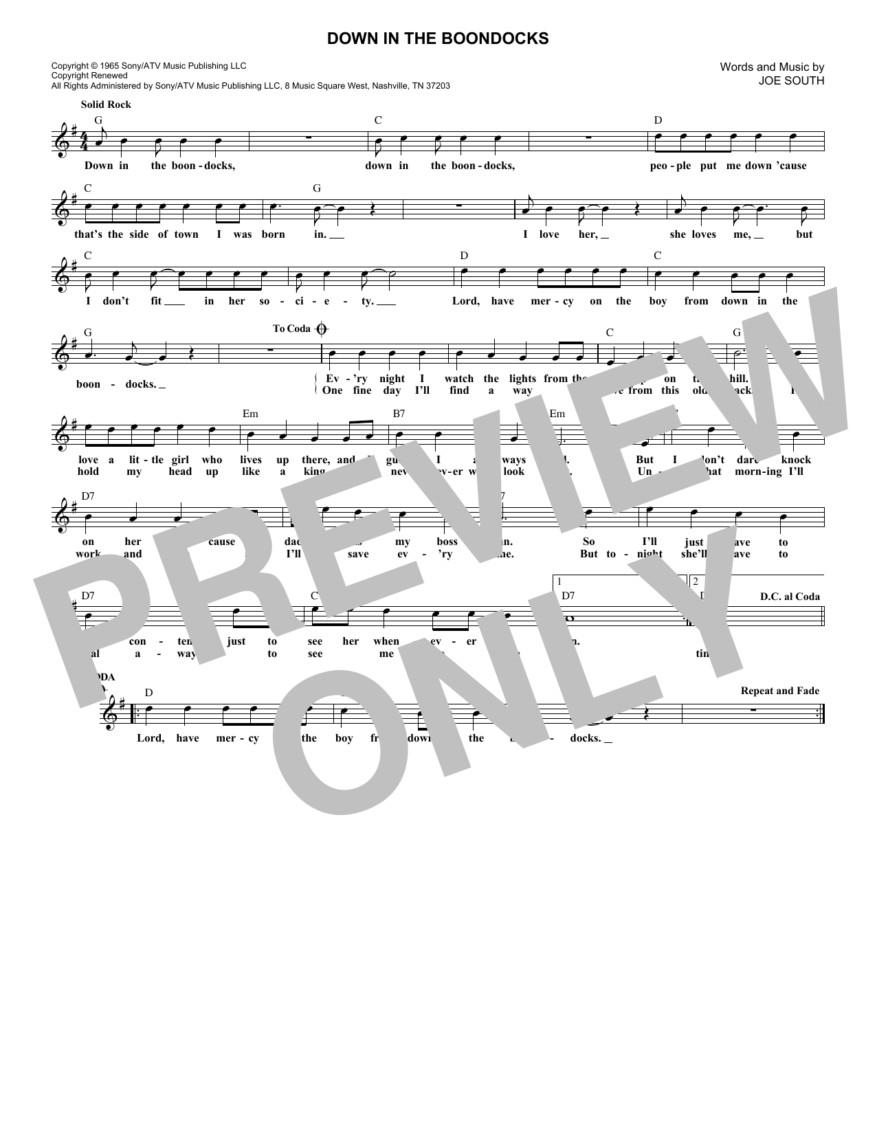 Down In The Boondocks (Lead Sheet / Fake Book)