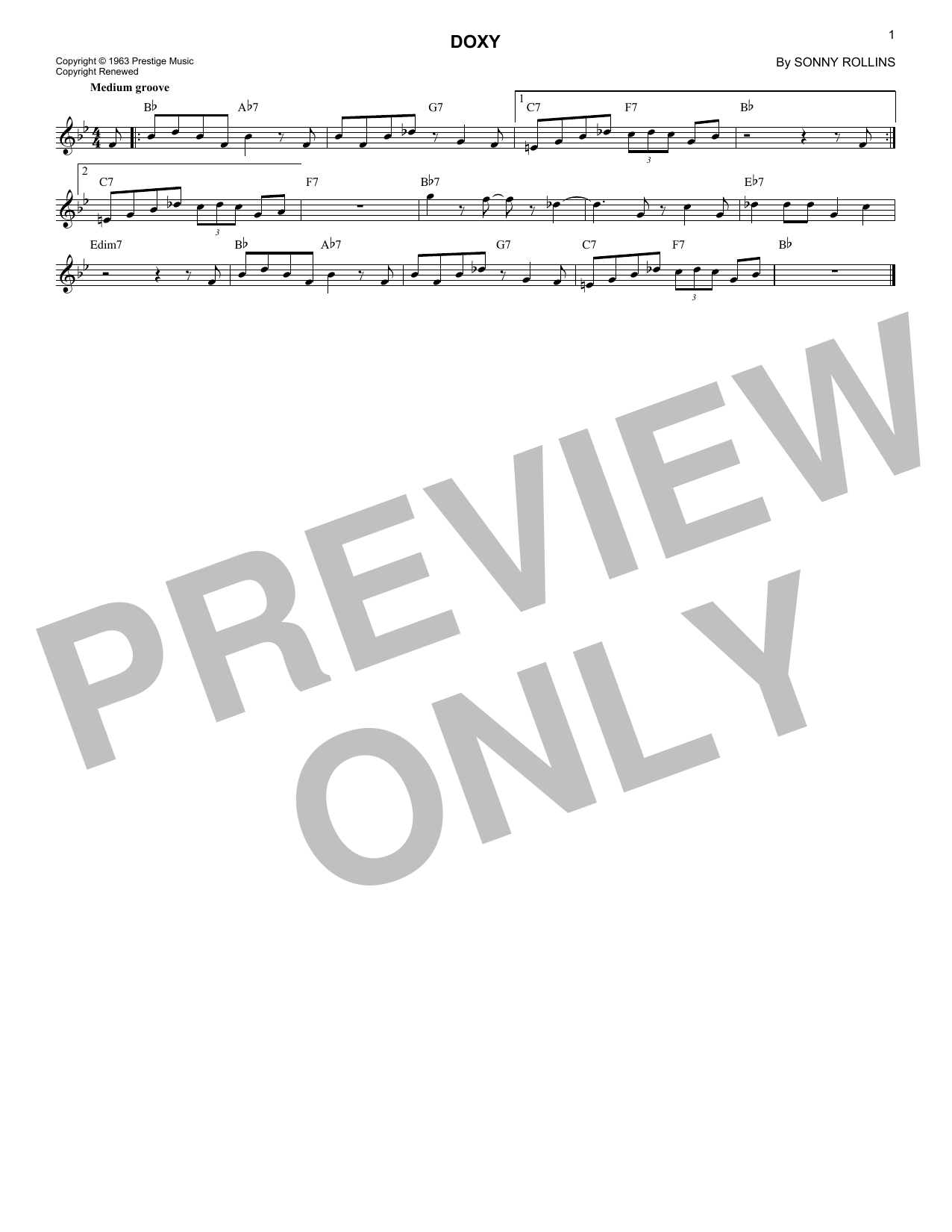 Doxy (Lead Sheet / Fake Book)
