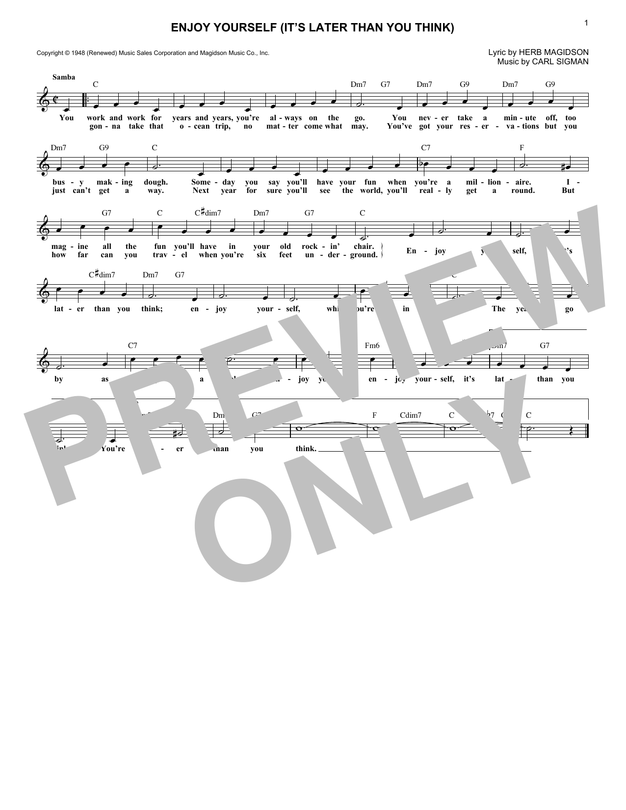 Enjoy Yourself (It's Later Than You Think) (Lead Sheet / Fake Book)