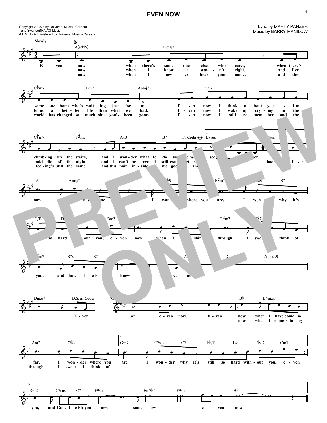 Even Now (Lead Sheet / Fake Book)