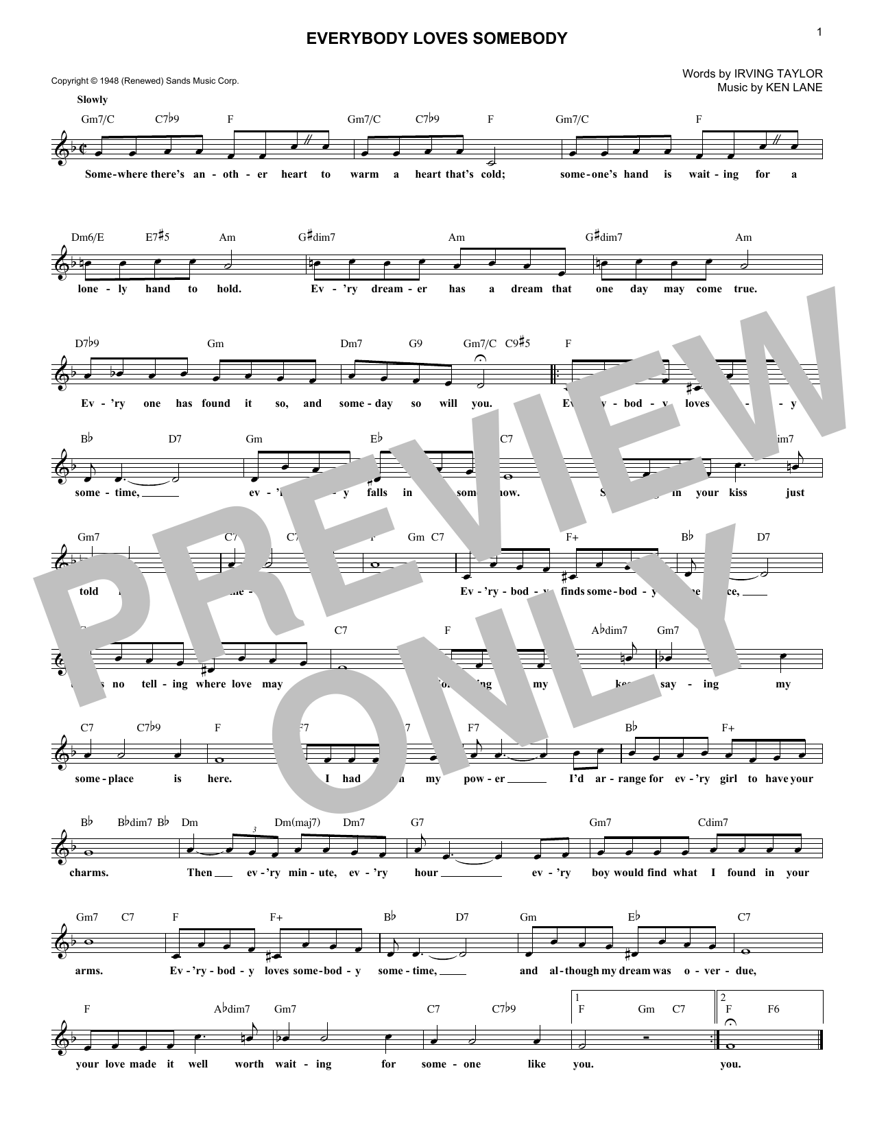 Everybody Loves Somebody (Lead Sheet / Fake Book)