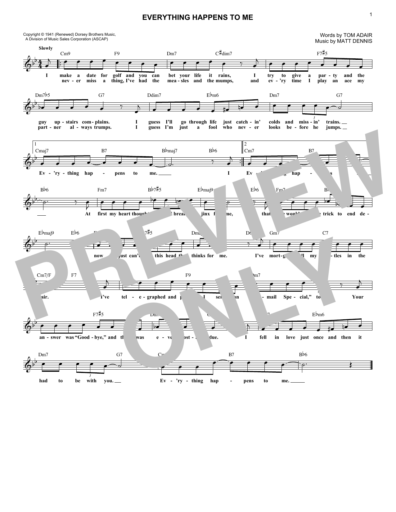 Everything Happens To Me (Lead Sheet / Fake Book)
