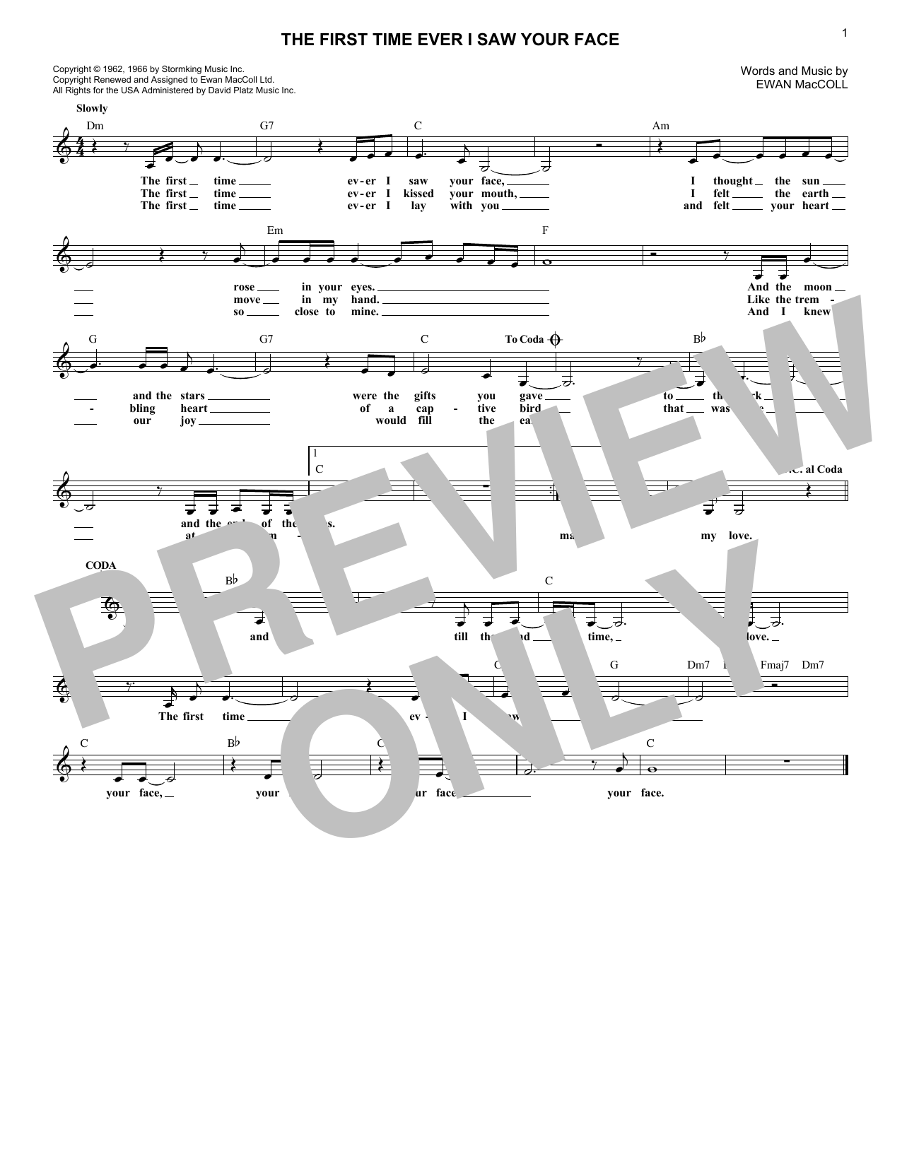The First Time Ever I Saw Your Face (Lead Sheet / Fake Book)