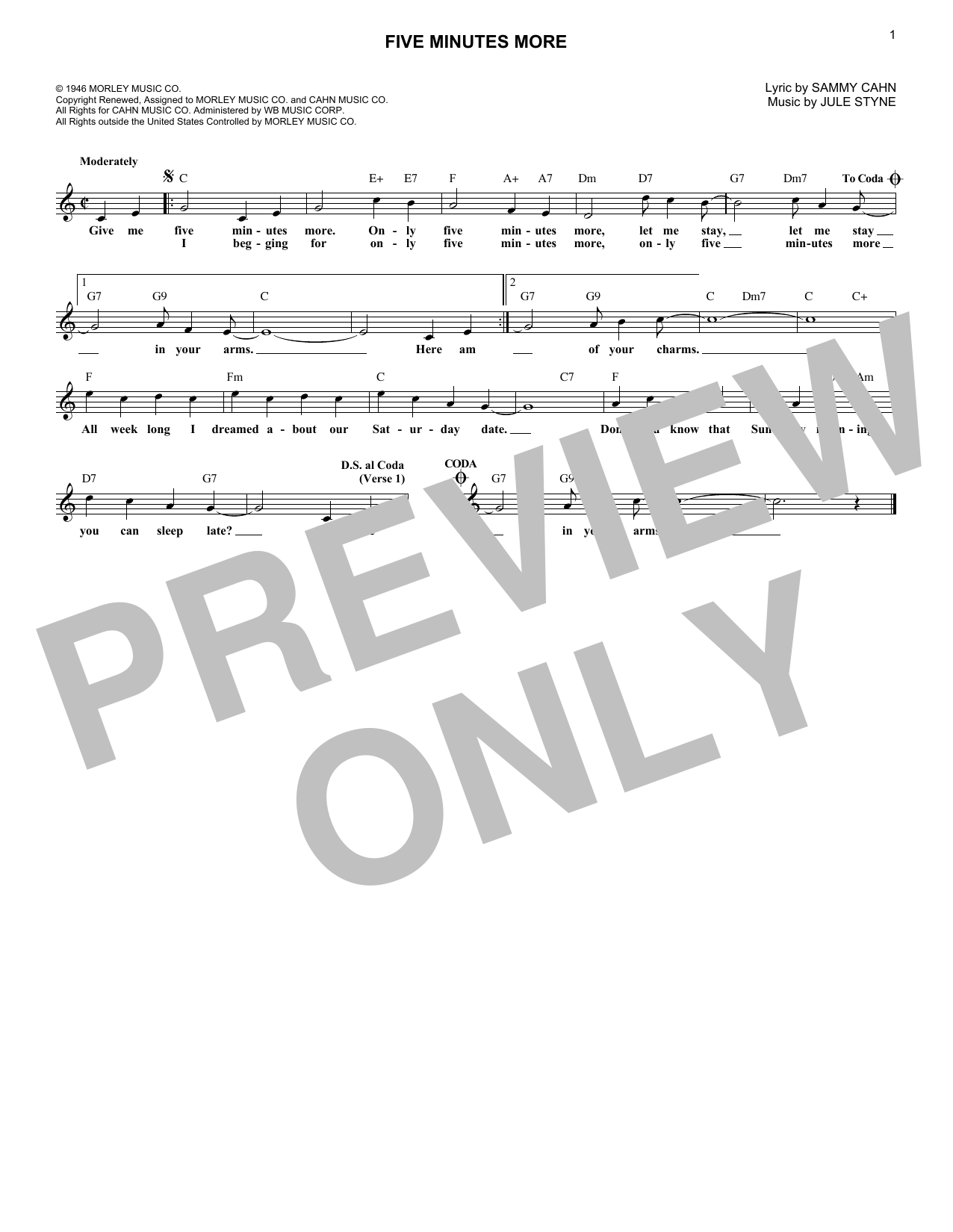 Five Minutes More (Melody Line, Lyrics & Chords)