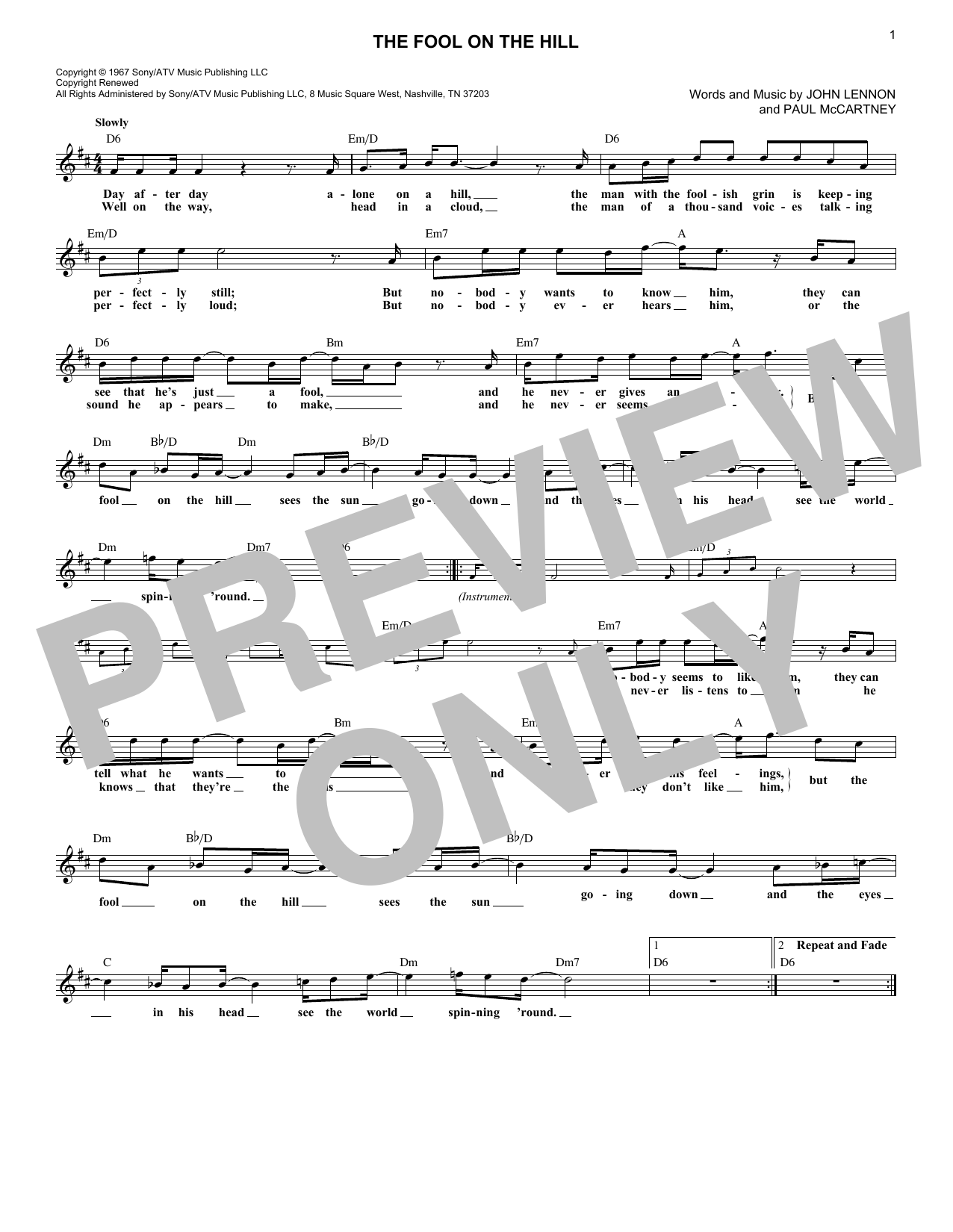 The Fool On The Hill (Lead Sheet / Fake Book)