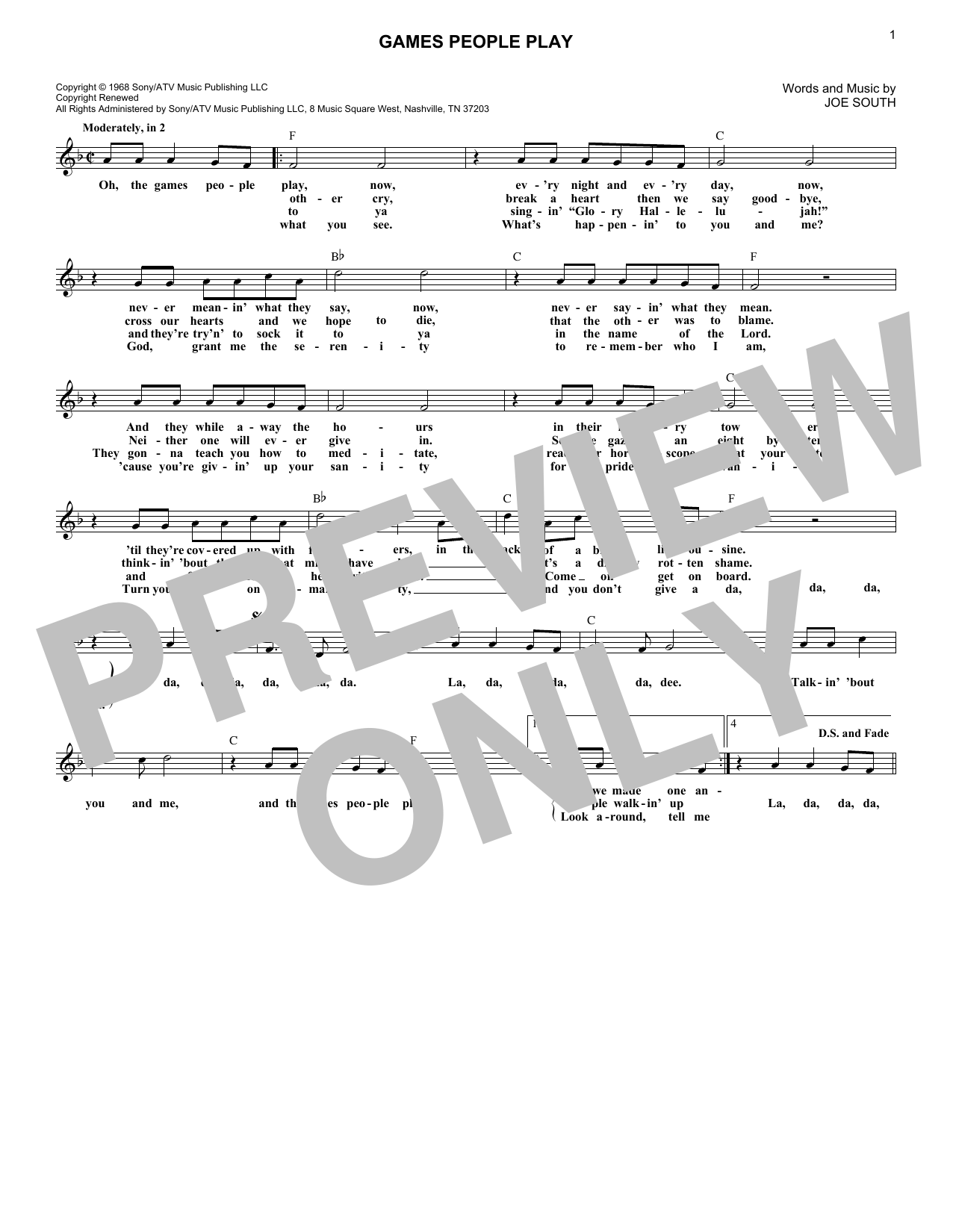 Games People Play (Lead Sheet / Fake Book)