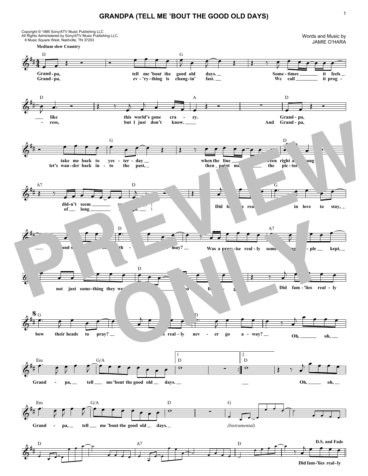 Grandpa (Tell Me 'Bout The Good Old Days) (Lead Sheet / Fake Book)