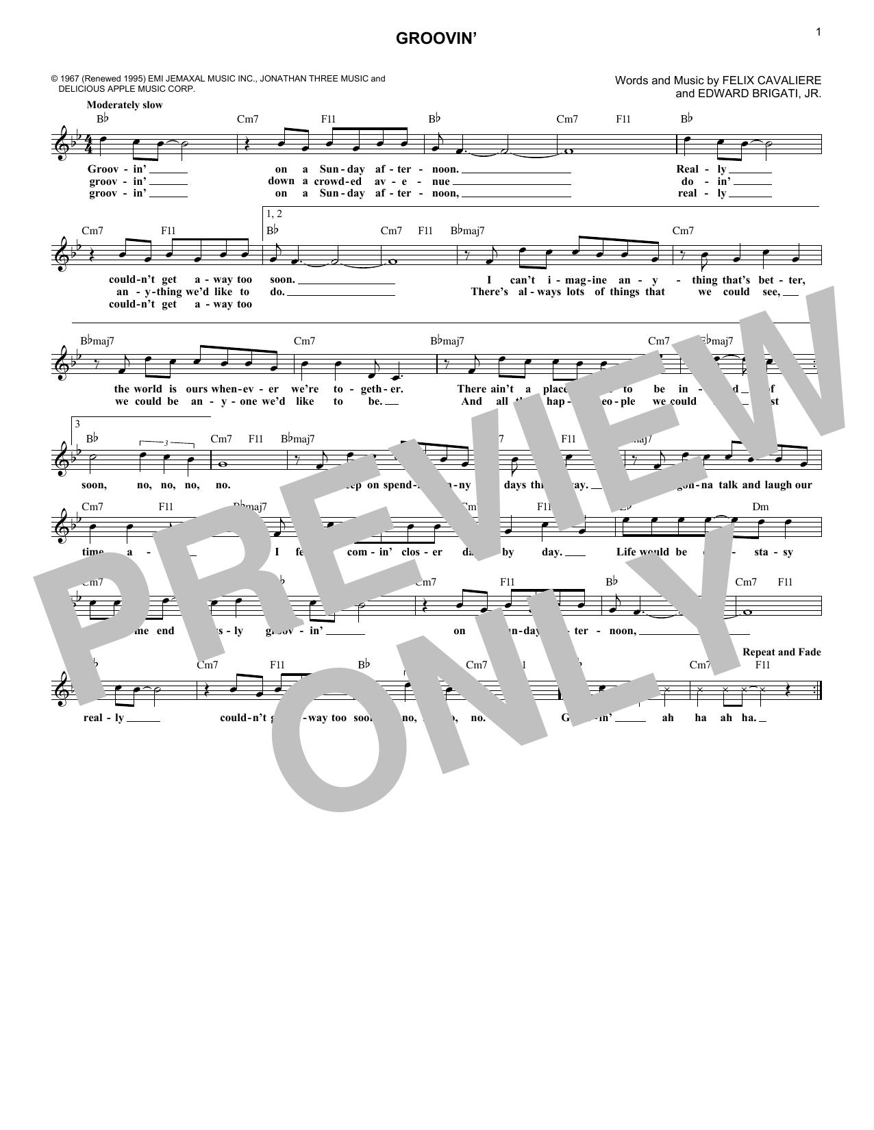 Groovin' (Lead Sheet / Fake Book)