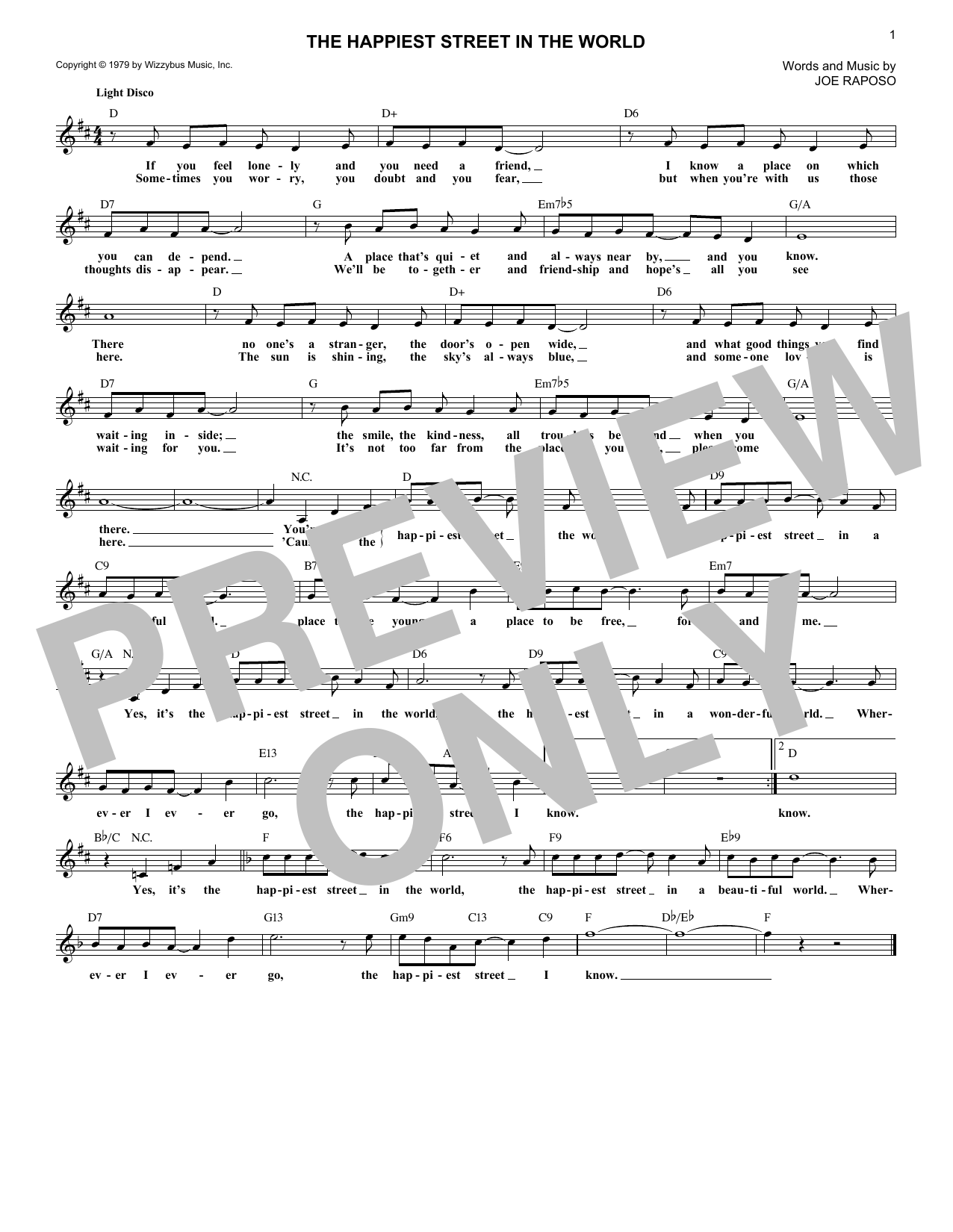 The Happiest Street In The World (Lead Sheet / Fake Book)